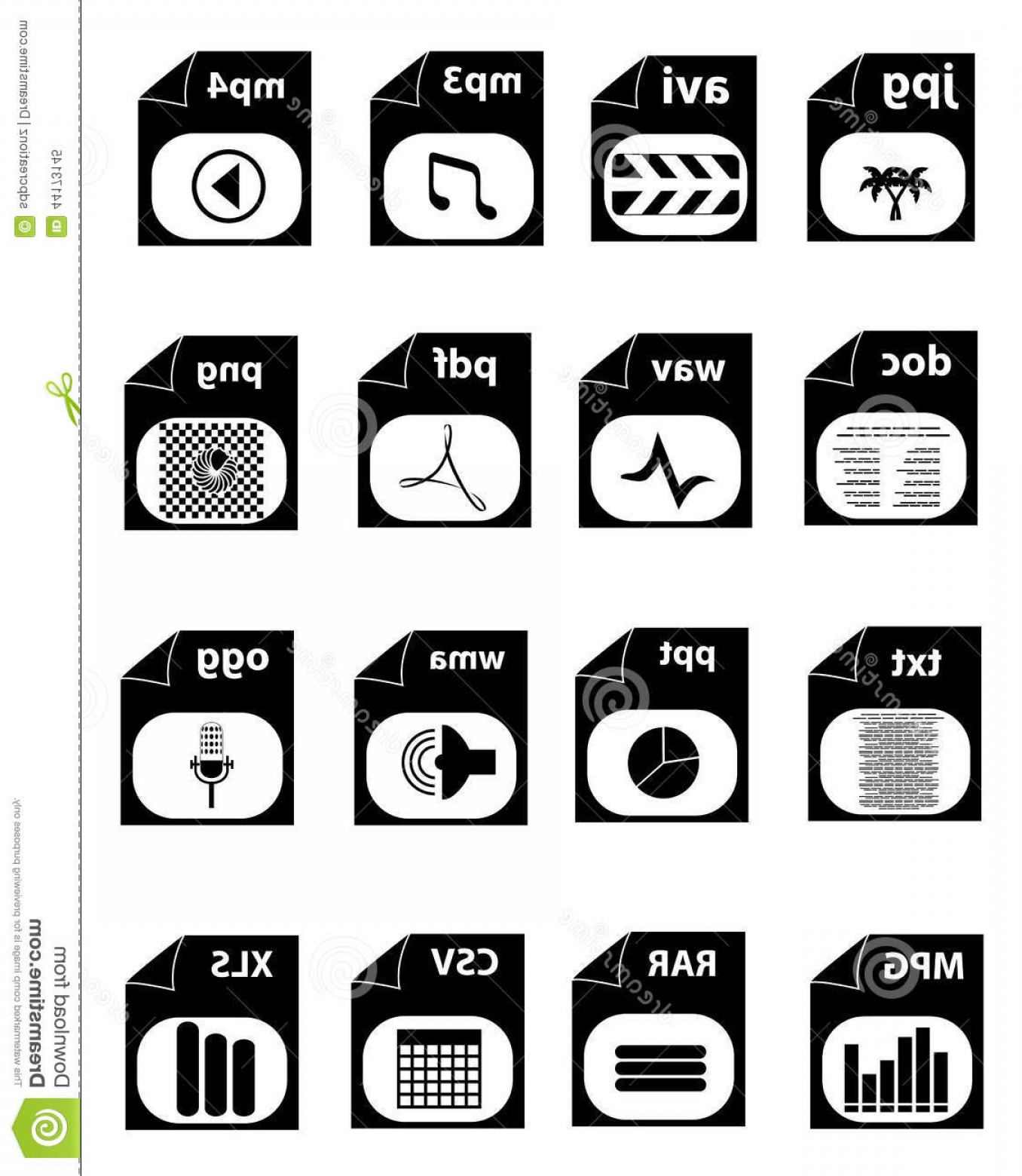 File Extension Vector Art: Stock Illustration File Extension Icons Vector Illustration Different Type Black Color White Background Image