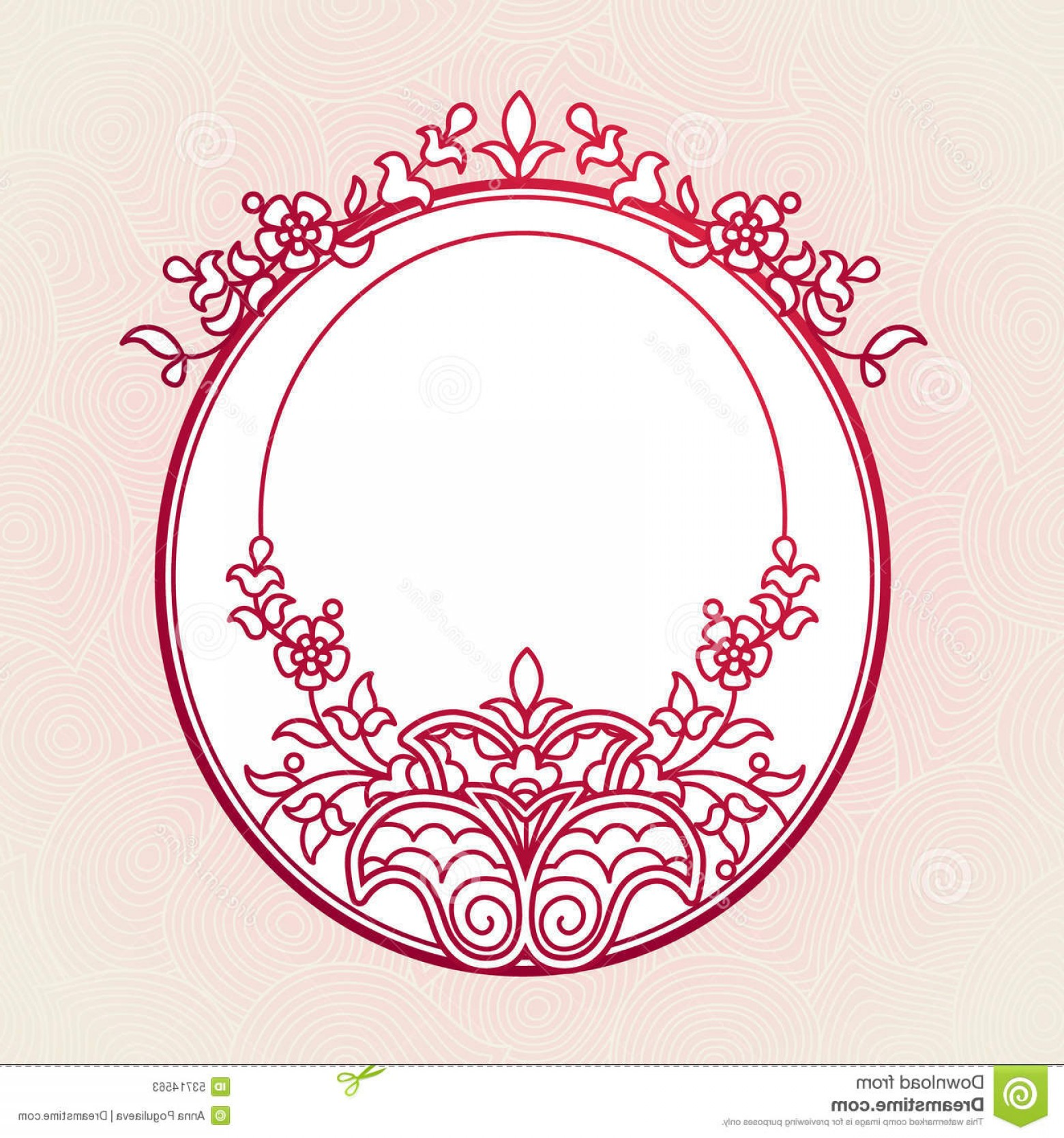Filigree Oval Frame Vector: Stock Illustration Filigree Vector Frames Eastern Style Frame Ornate Element Design Place Text Ornamental Red Border Wedding Image