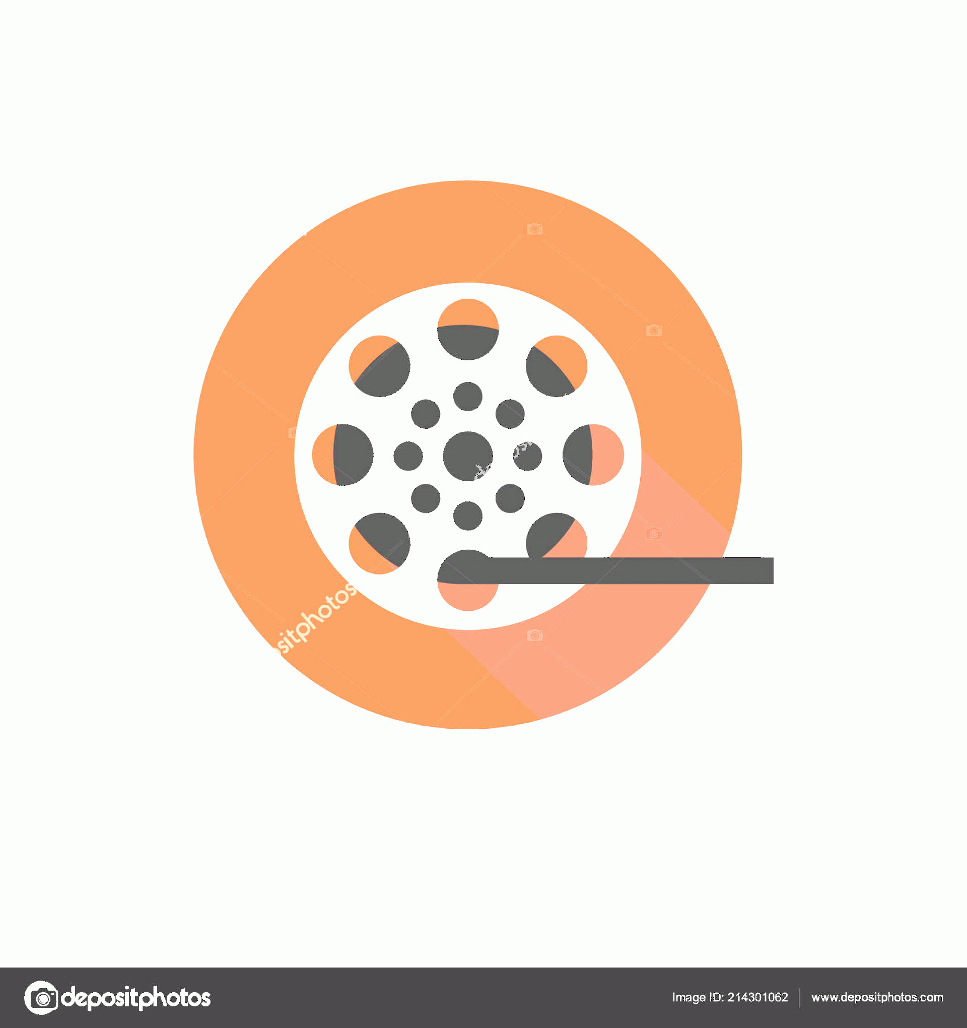 R Transparent Background Vector: Stock Illustration Film Reel Vector Icon Isolated