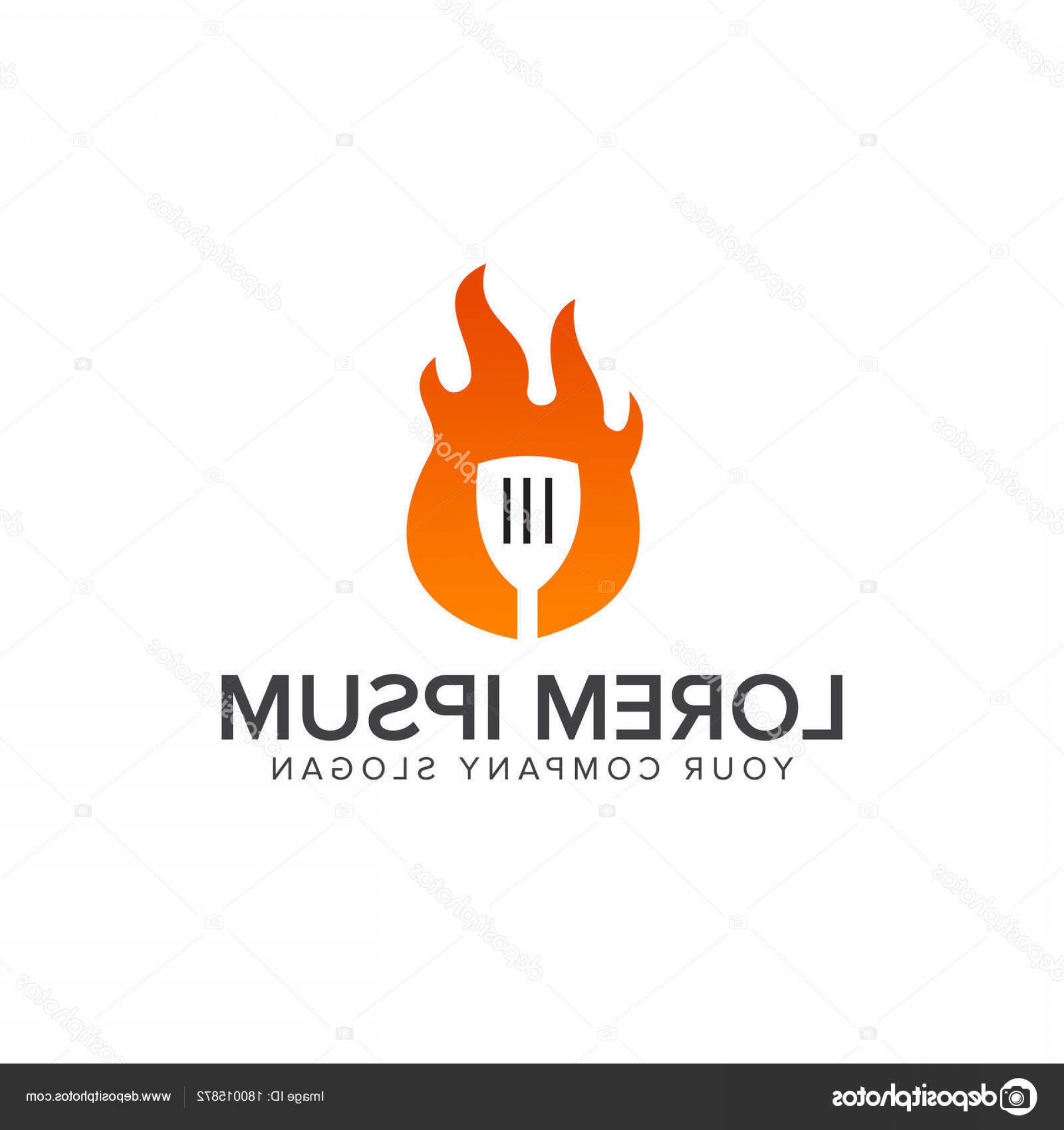 Vector Dove Restaurant: Stock Illustration Fire Cook Logo Food And