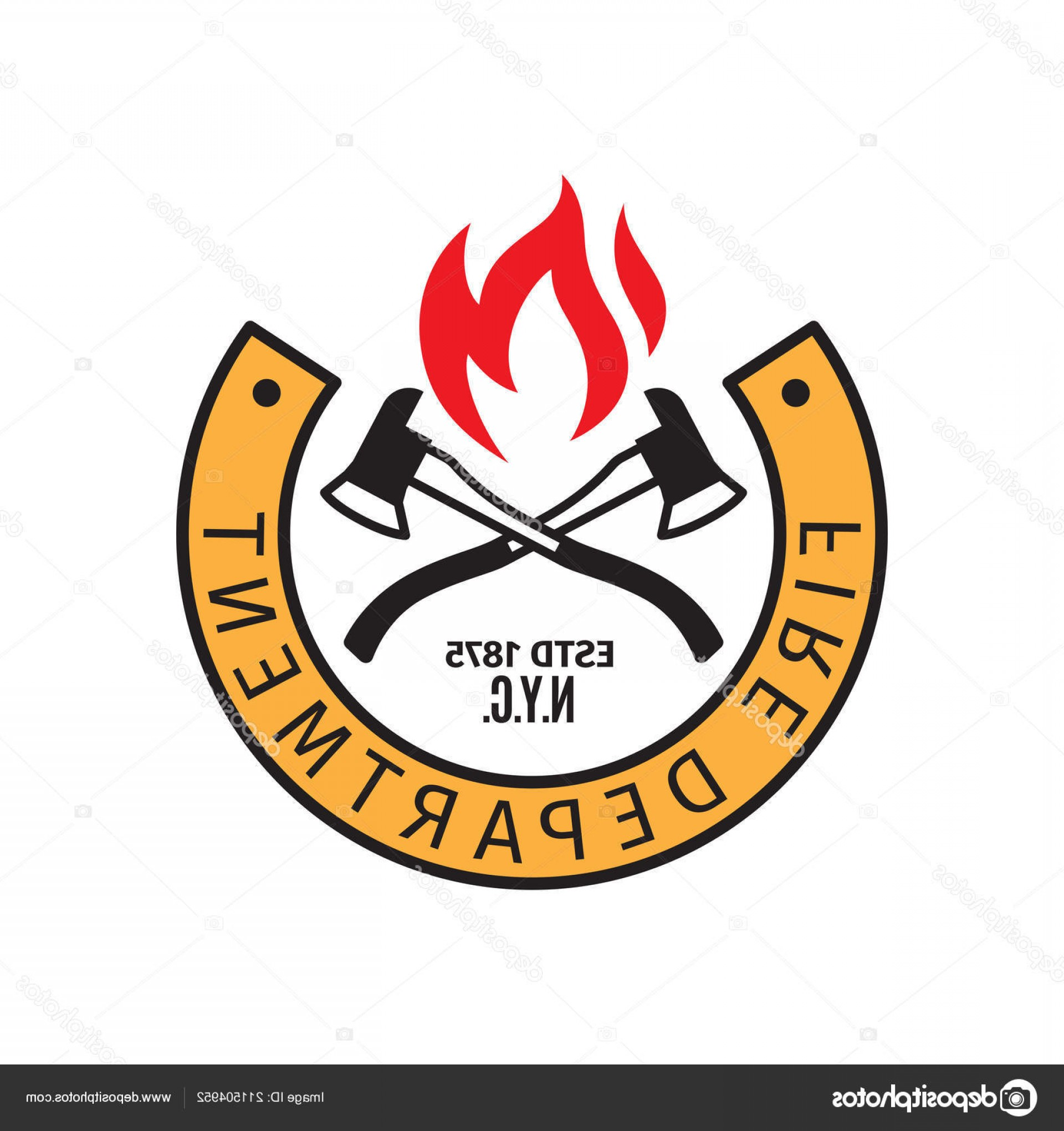 Fire Dept Emblem Vector: Stock Illustration Fire Department Badge With Axes