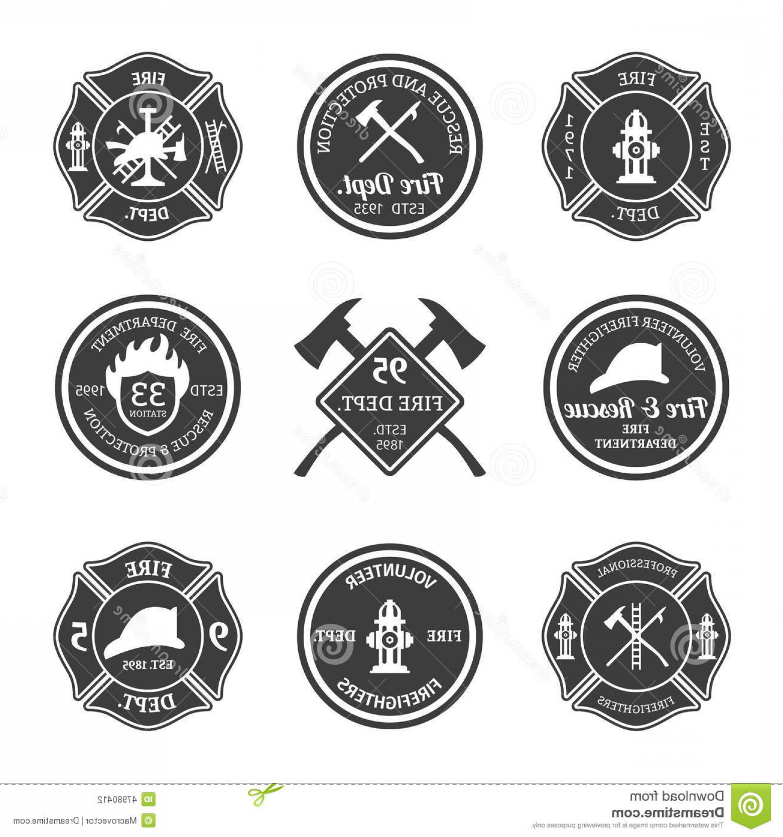 Fire Fighter Logo Vector: Stock Illustration Fire Department Emblems Black Professional Firefighter Equipment Set Isolated Vector Illustration Image