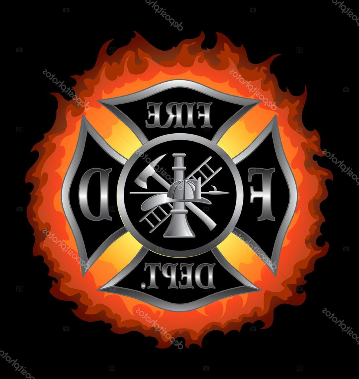 Fire Maltese Vector: Stock Illustration Fire Department Maltese Cross With