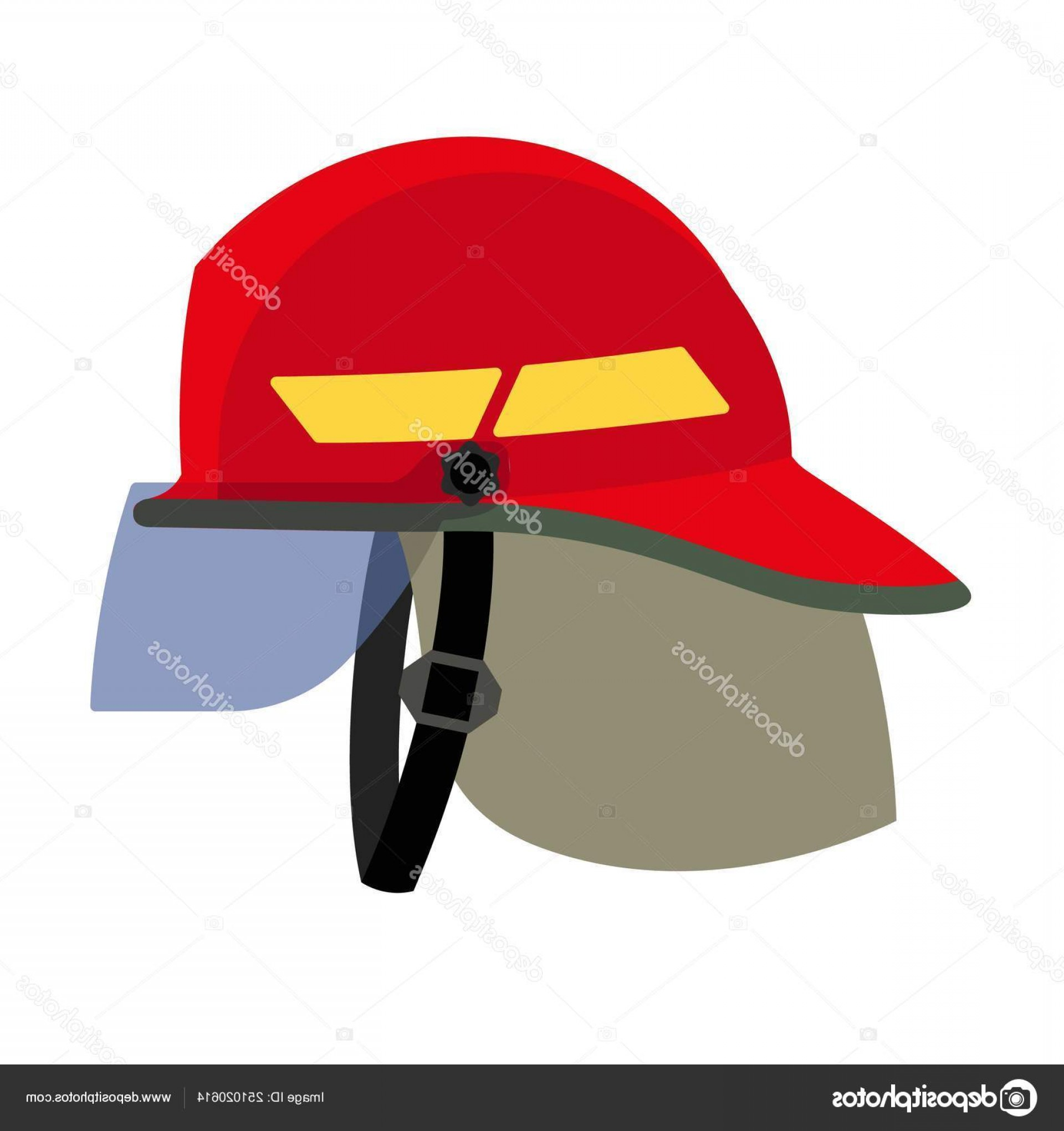 Fighter Helmet Vectors: Stock Illustration Fire Fighter Helmet Icon Flat