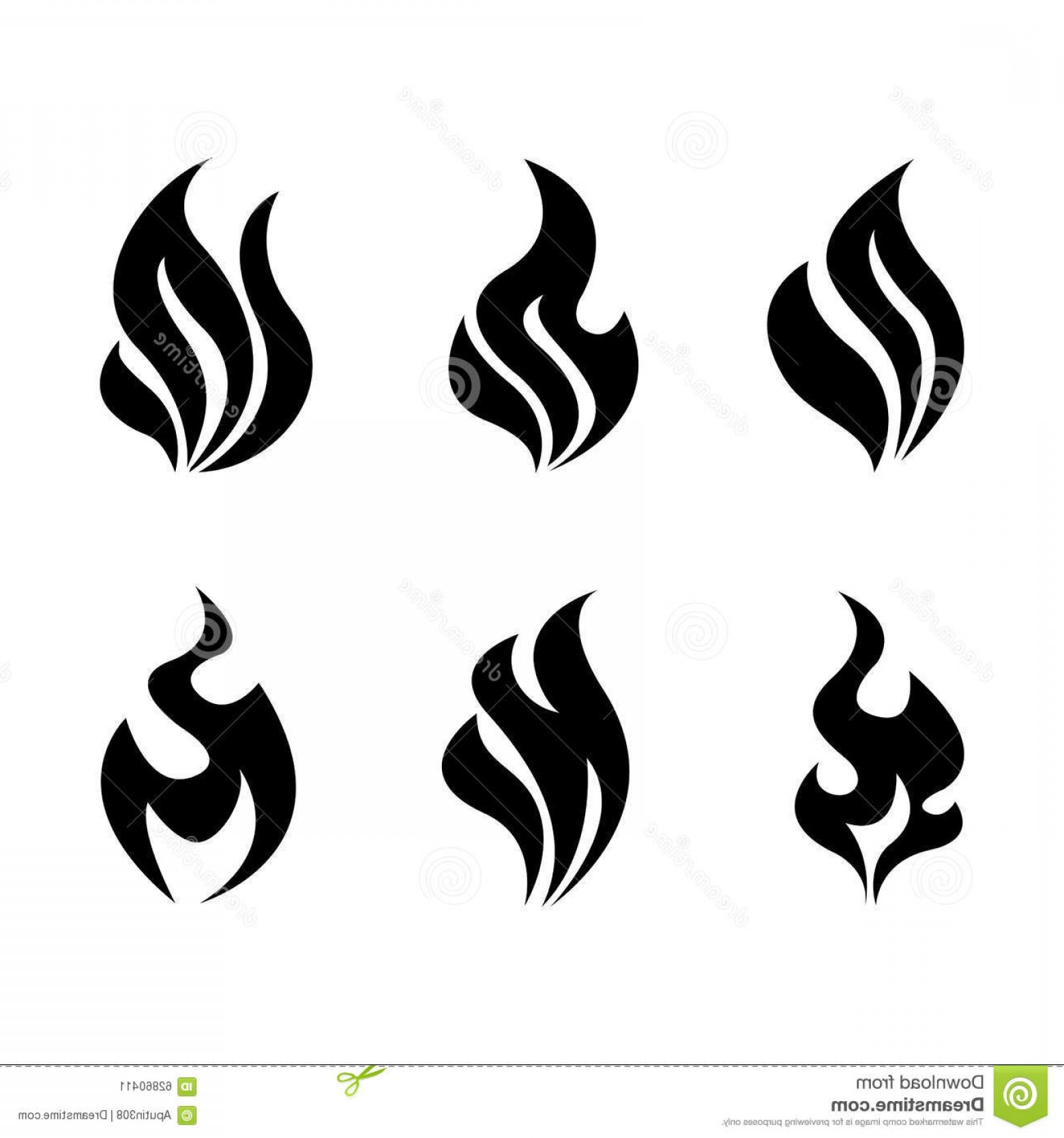 Flame Vector Icon: Stock Illustration Fire Flames Burning Vector Icon Set Hot Blazing Icons Image