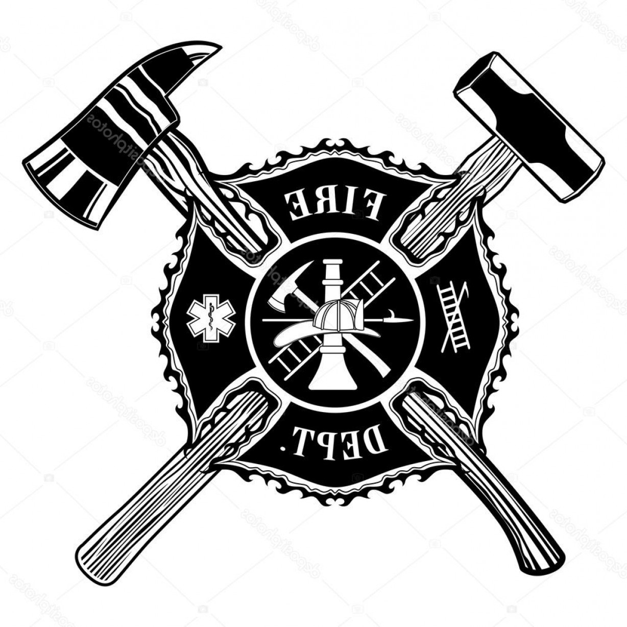 Fire Fighter Logo Vector: Stock Illustration Firefighter Cross Ax And Sledge