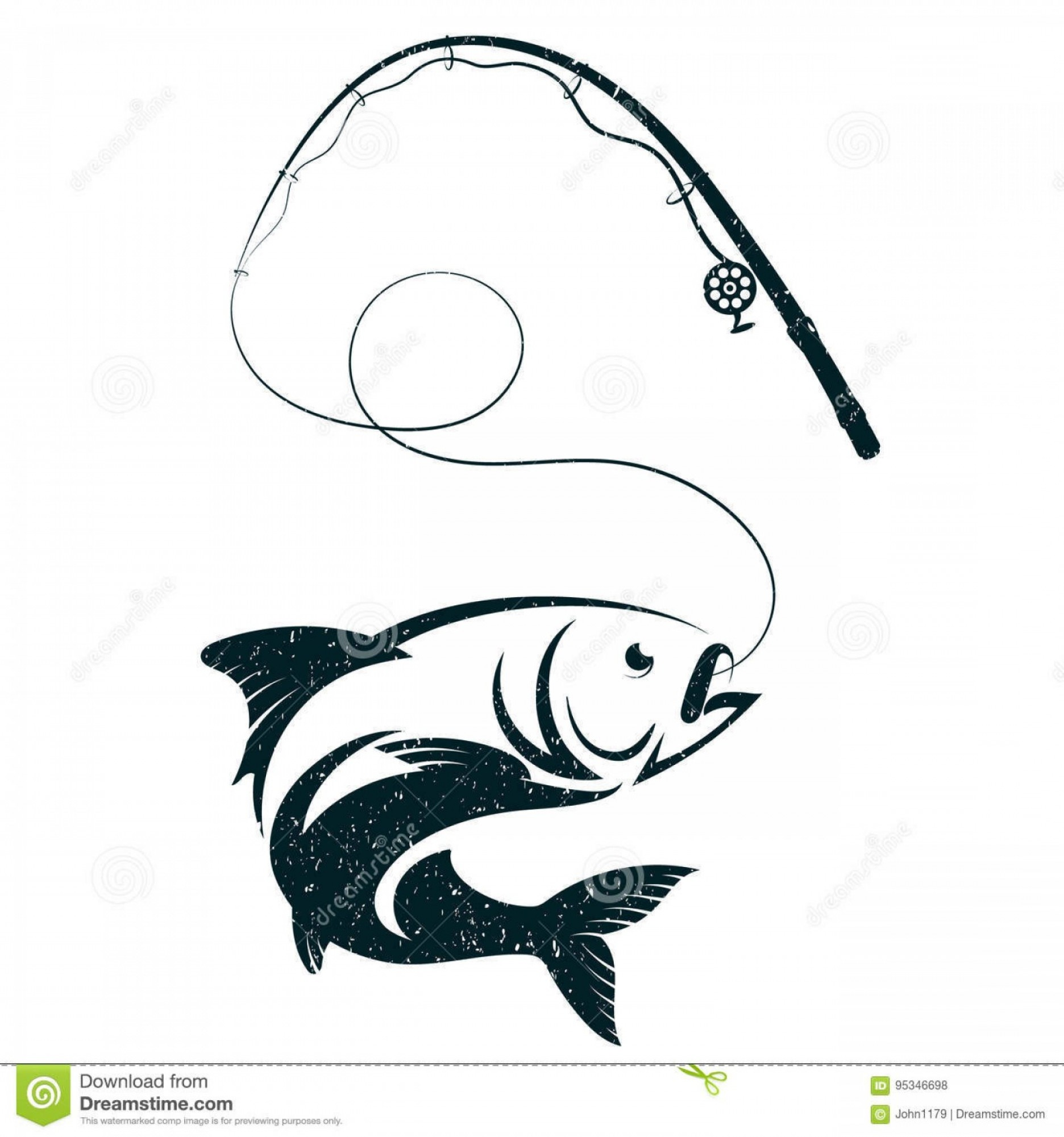 Fishing Pole Silhouette Vector: Stock Illustration Fish Hook Fishing Rod Silhouette Vector Image