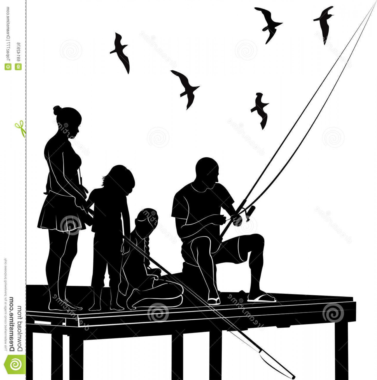 Family Silhouette Vector Art: Stock Illustration Fishing Family Silhouette Vector Hobby Activity Natural Image
