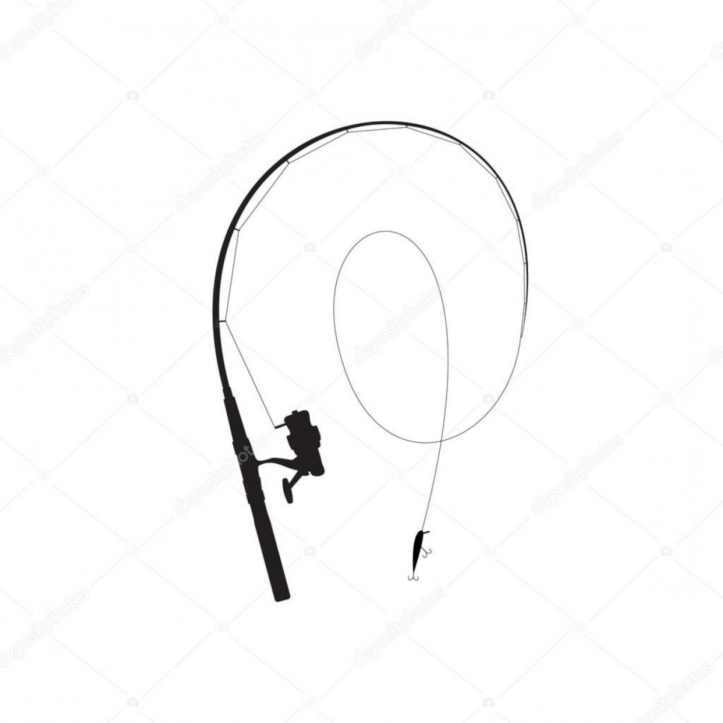 Fishing Pole Silhouette Vector: Stock Illustration Fishing Rod Black Silhouette