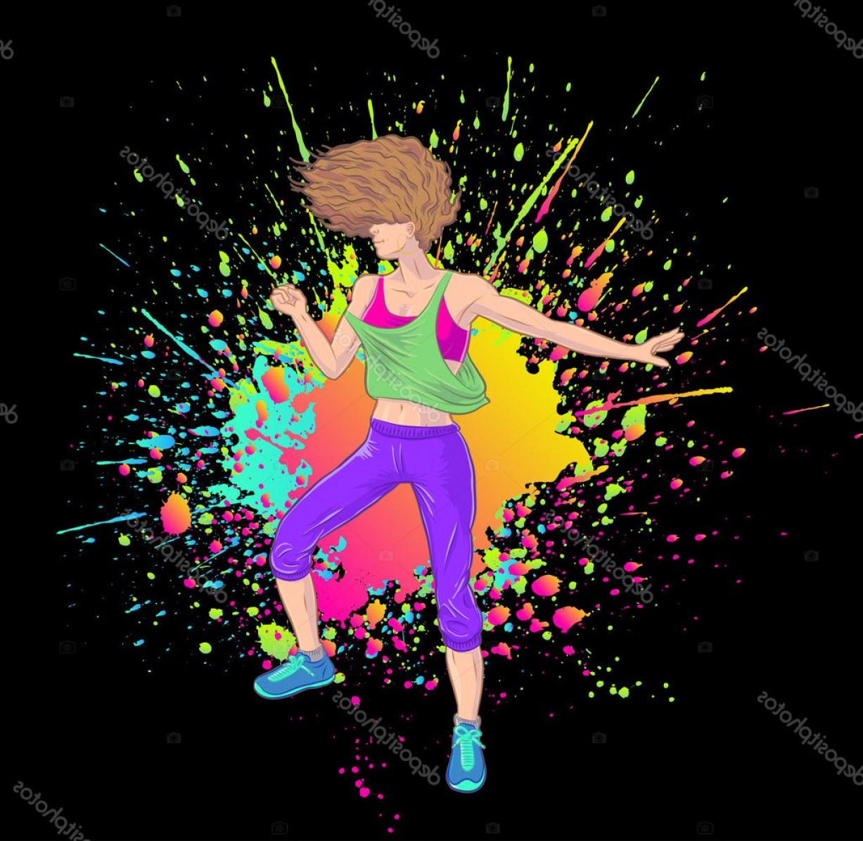 Zumba Vector Illustration: Stock Illustration Fitness Girl Dancing Zumba Blond
