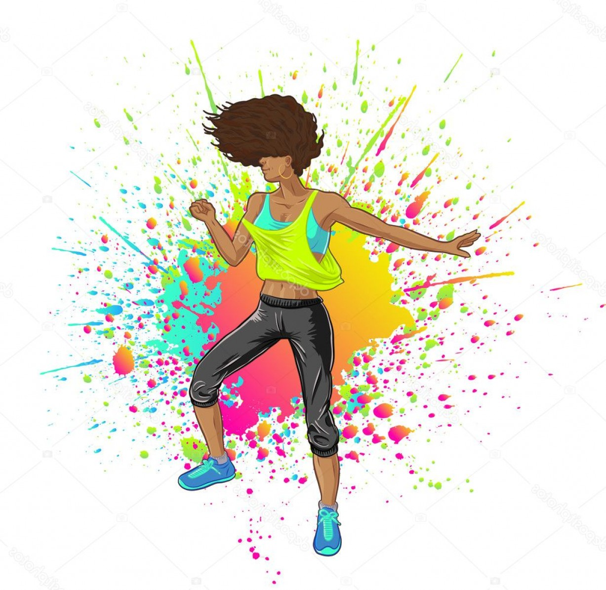 Zumba Vector Illustration: Stock Illustration Fitness Girl Dancing Zumba Or