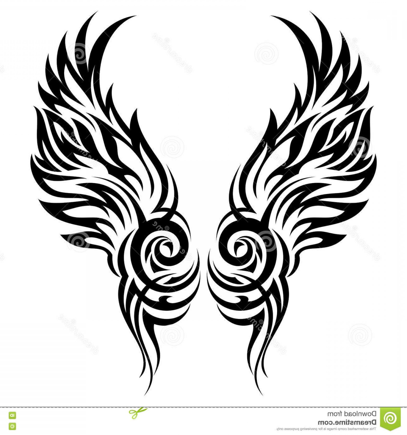 Angel Wings Tattoo Tribal Vector: Stock Illustration Flaming Wings Tribal Tattoo Vector Ornament Image