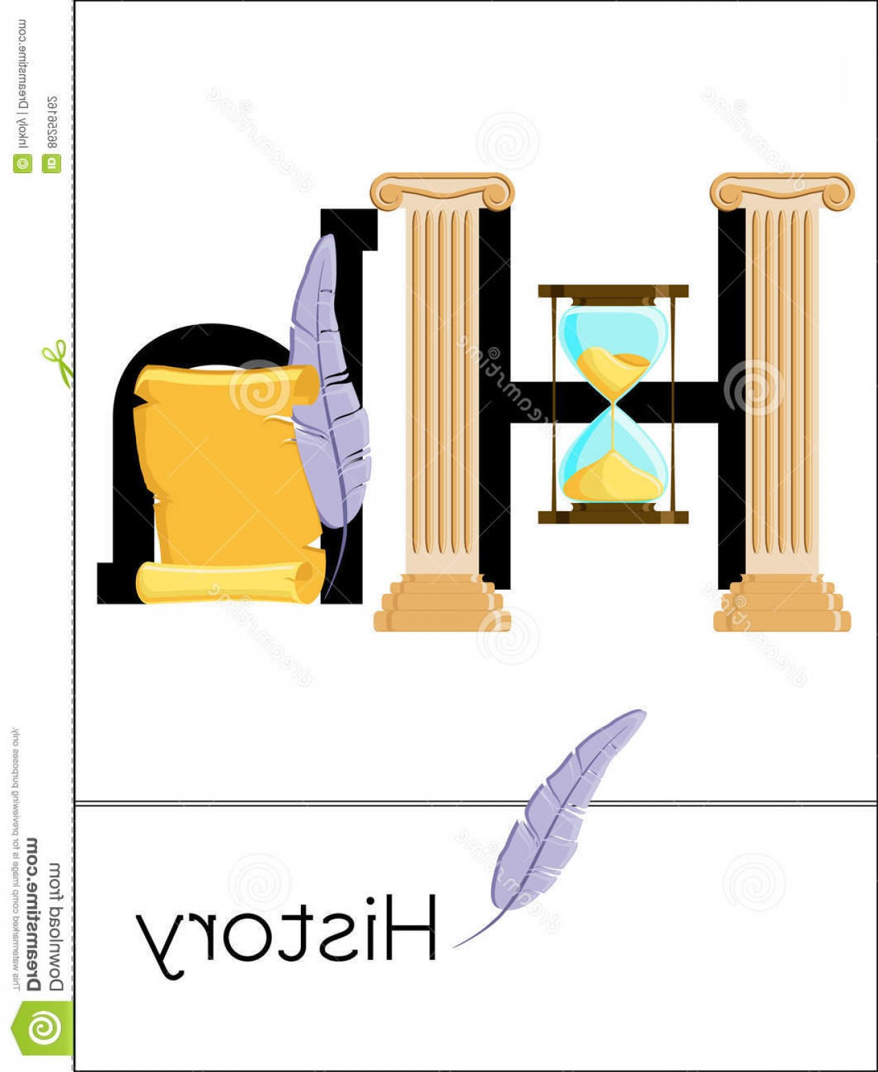 Vector ABC History: Stock Illustration Flash Card Letter H History Science Alphabet Kids Puzzle Abc Cards Series Cartoon Vector Illustration Flat Image