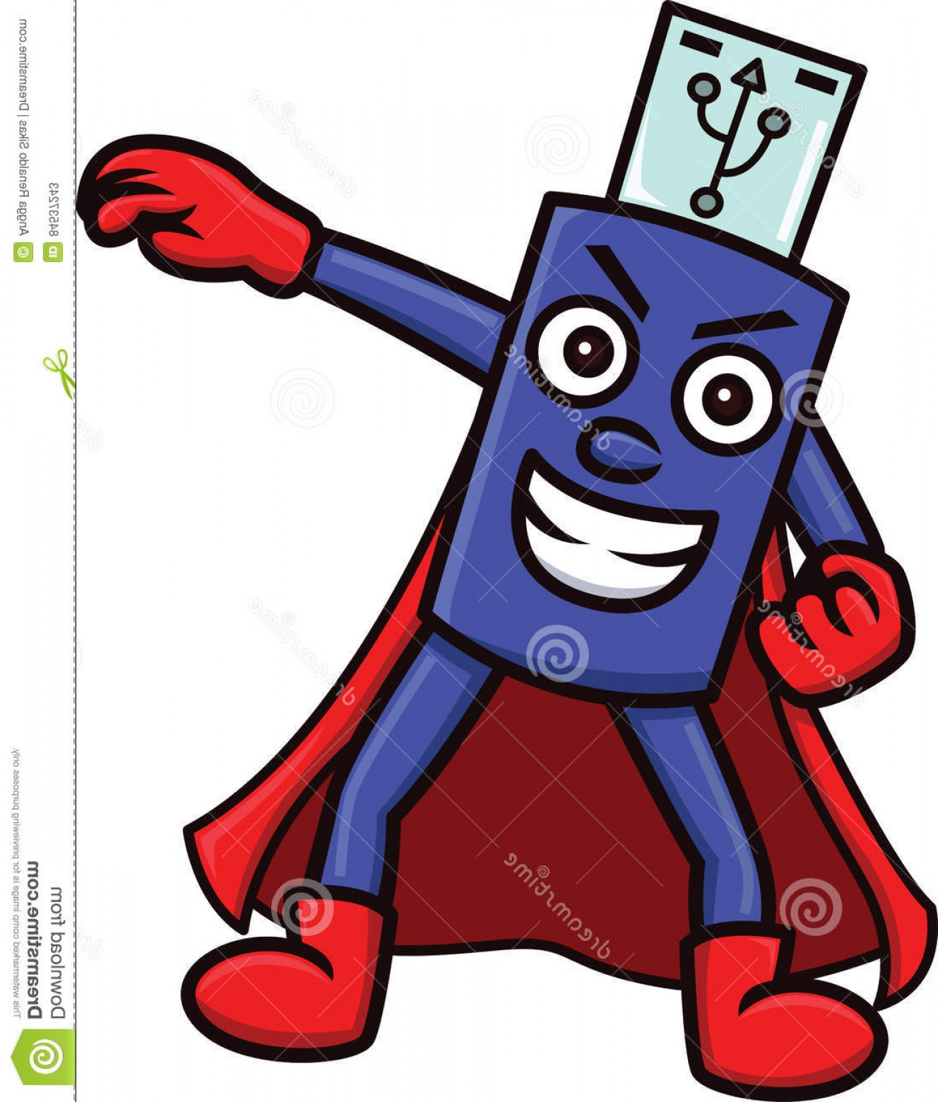 Flash Superhero Logo Vector: Stock Illustration Flash Drive Mascot Character Superhero Costume Cartoon Illustration Image