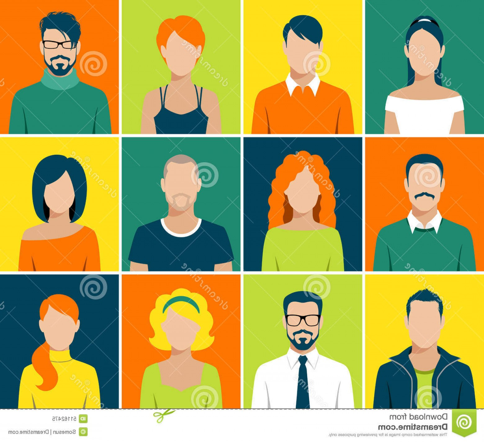 Vector People Man: Stock Illustration Flat Avatar App Icons Set User Face People Vector Design Man Woman Image