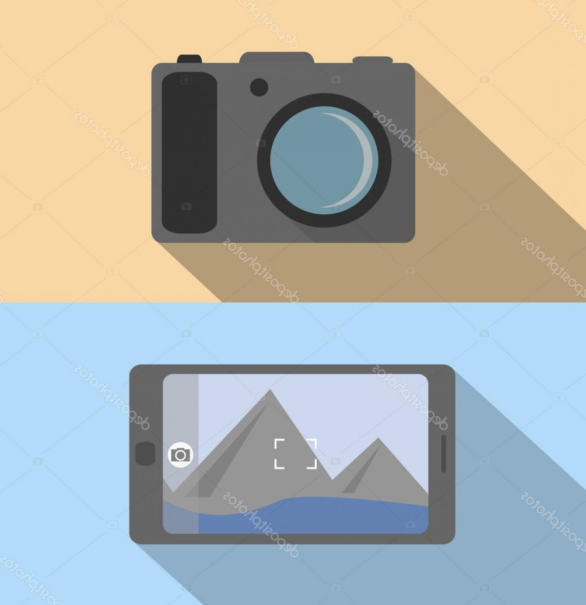 Hires Camera Lens Vector: Stock Illustration Flat Concept Camera And Mobile
