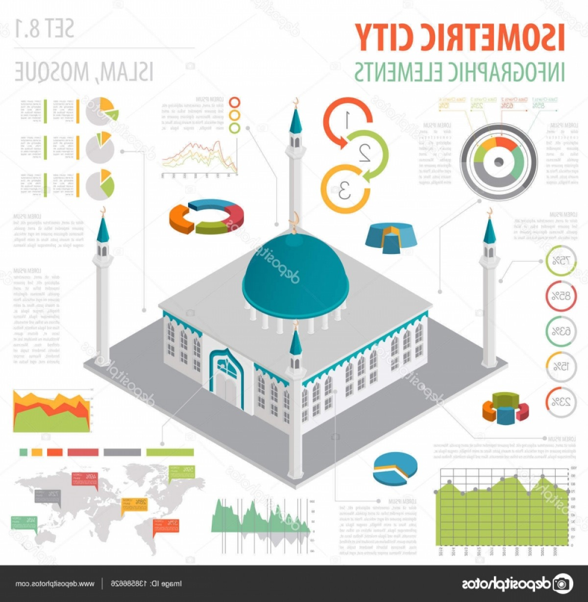 Mosque Vector Map: Stock Illustration Flat D Isometric Islamic Mosque