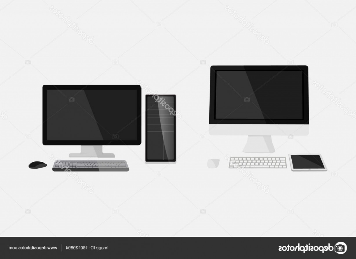 Vector Monitors Mac: Stock Illustration Flat Dekstop Computer Vector Illustration