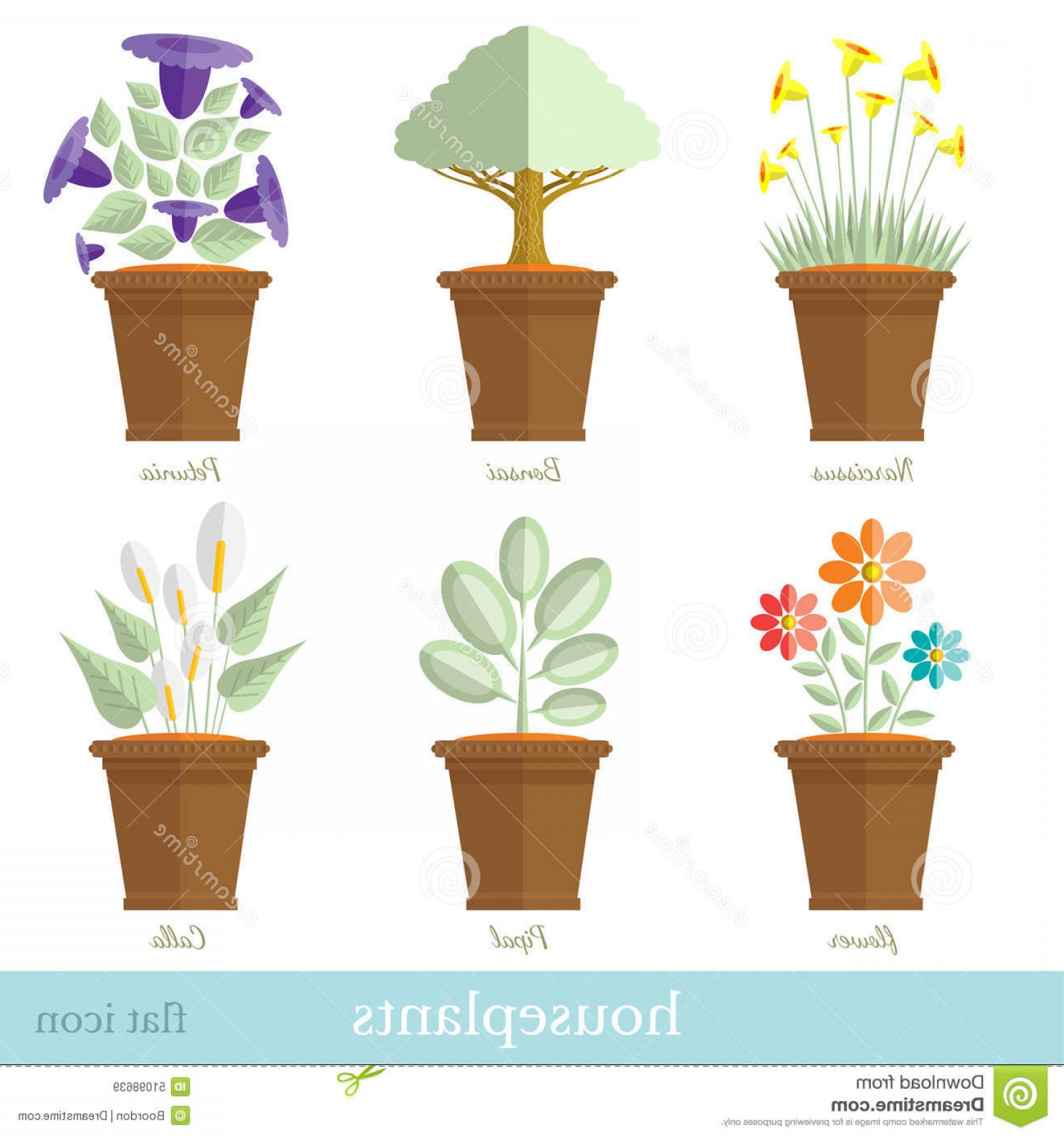 Flower Pot Vector Graphics: Stock Illustration Flat Design Set House Plant Flower Flowerpot Set Image