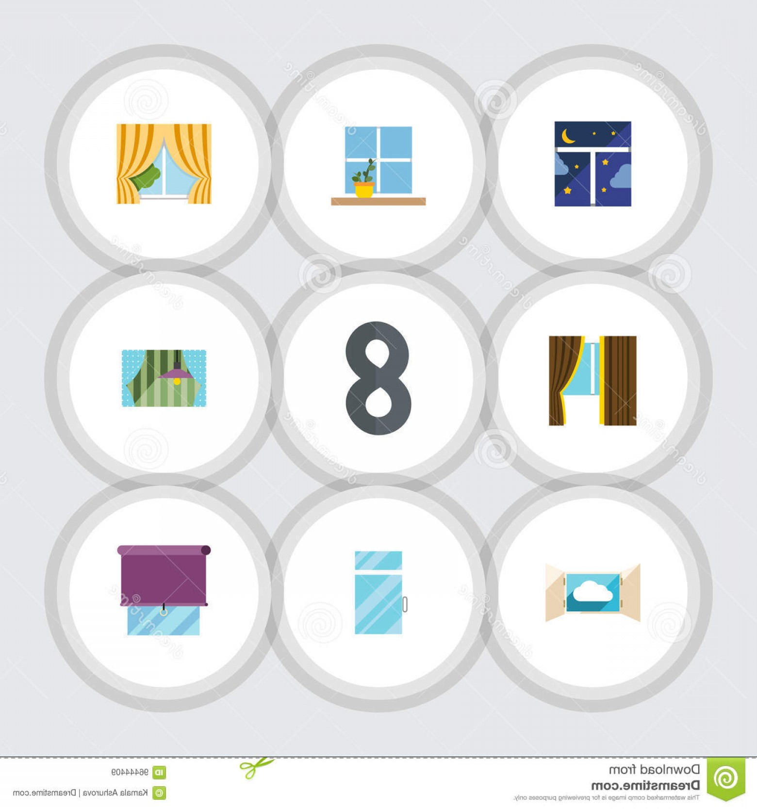 Windows 8 Phone Icon Vector: Stock Illustration Flat Icon Frame Set Flowerpot Glazing Curtain Other Vector Objects Also Includes Flower Balcony Window Image