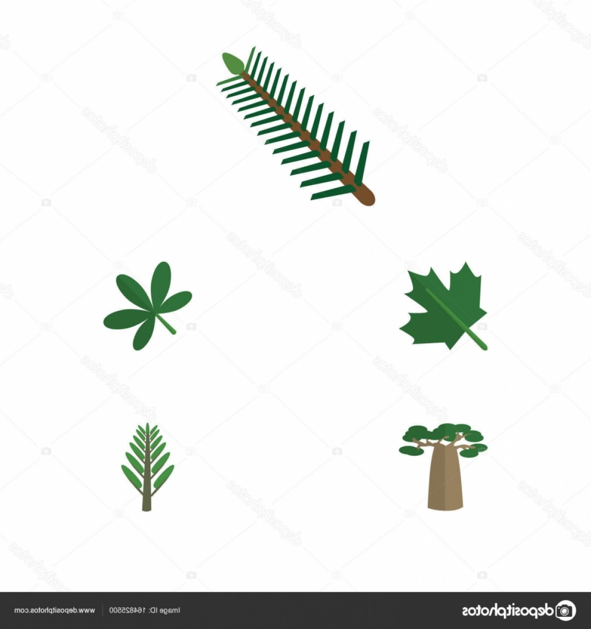 Vector Natural Willow: Stock Illustration Flat Icon Natural Set Of
