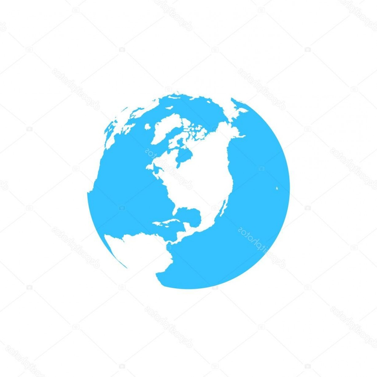 World Icon Vector Simple: Stock Illustration Flat Simple Blue Earth Icon