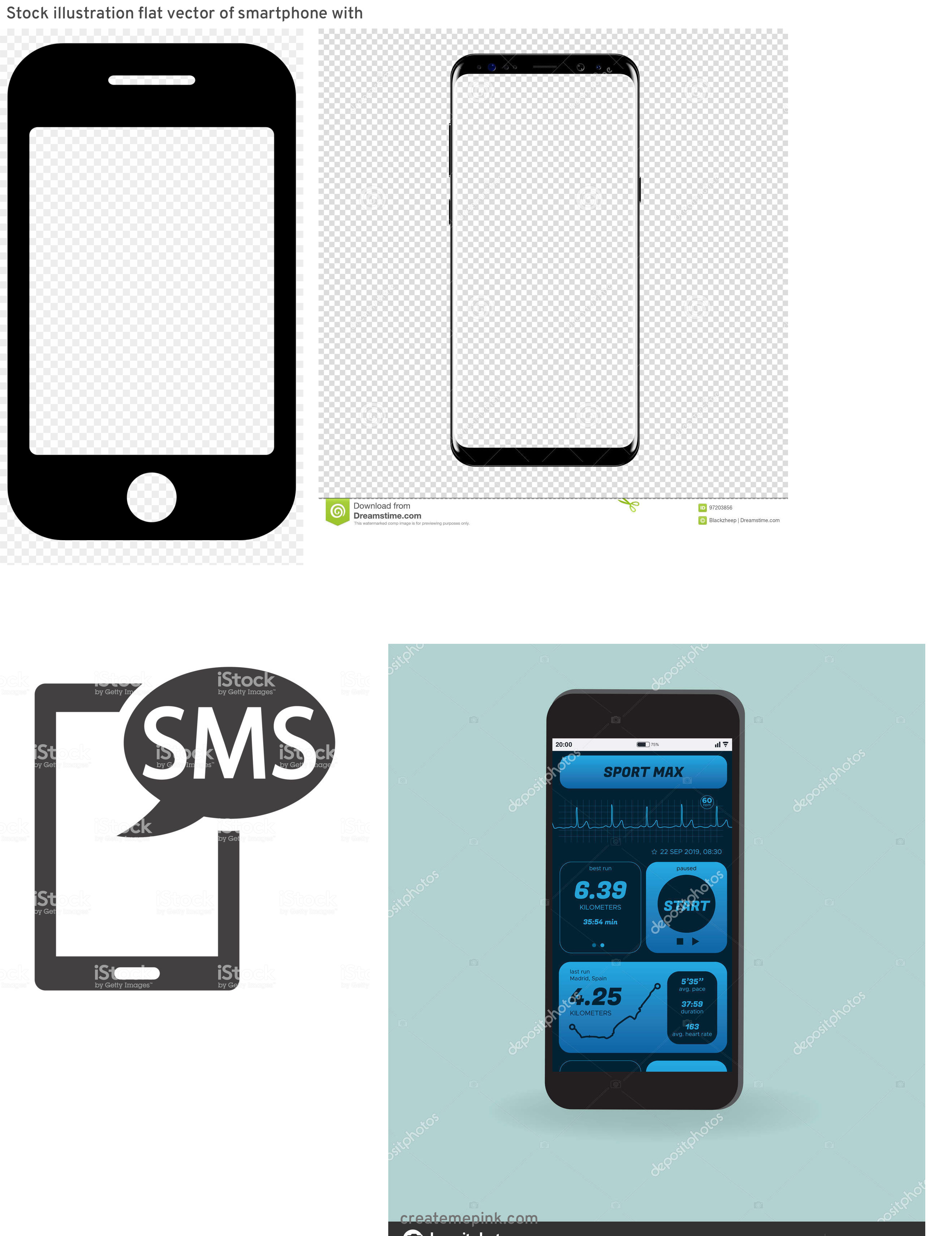 U.S. Cellular Phone Vector: Stock Illustration Flat Vector Of Smartphone With