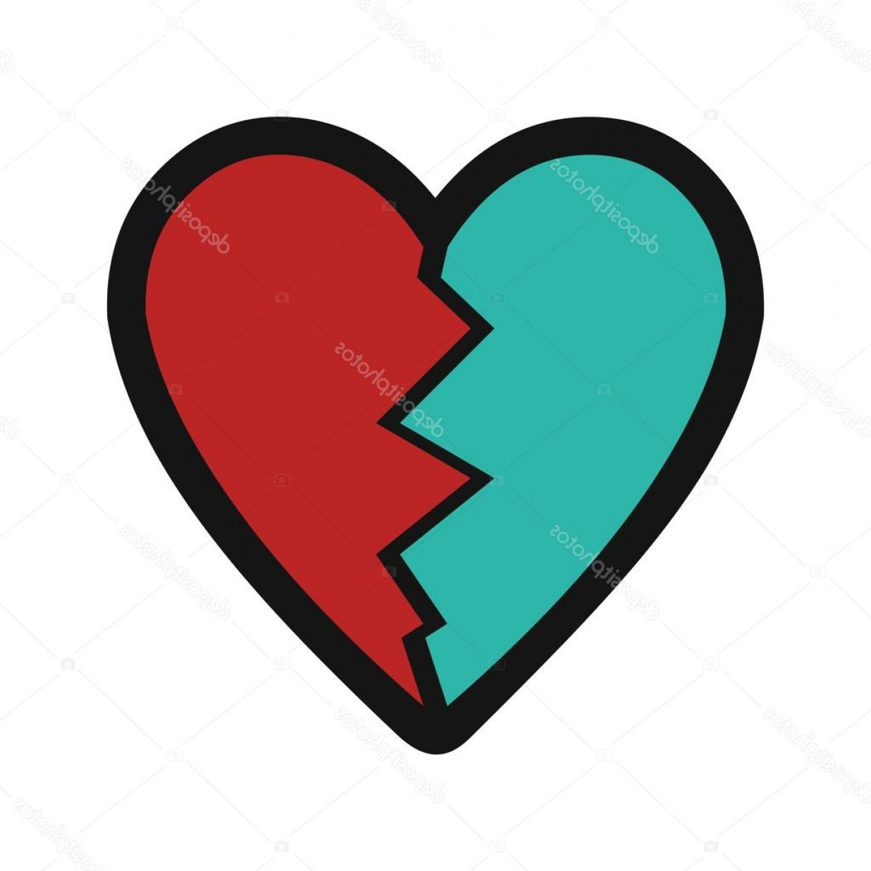 Vector Broken Pieces: Stock Illustration Flat With Shadow Icon Heart