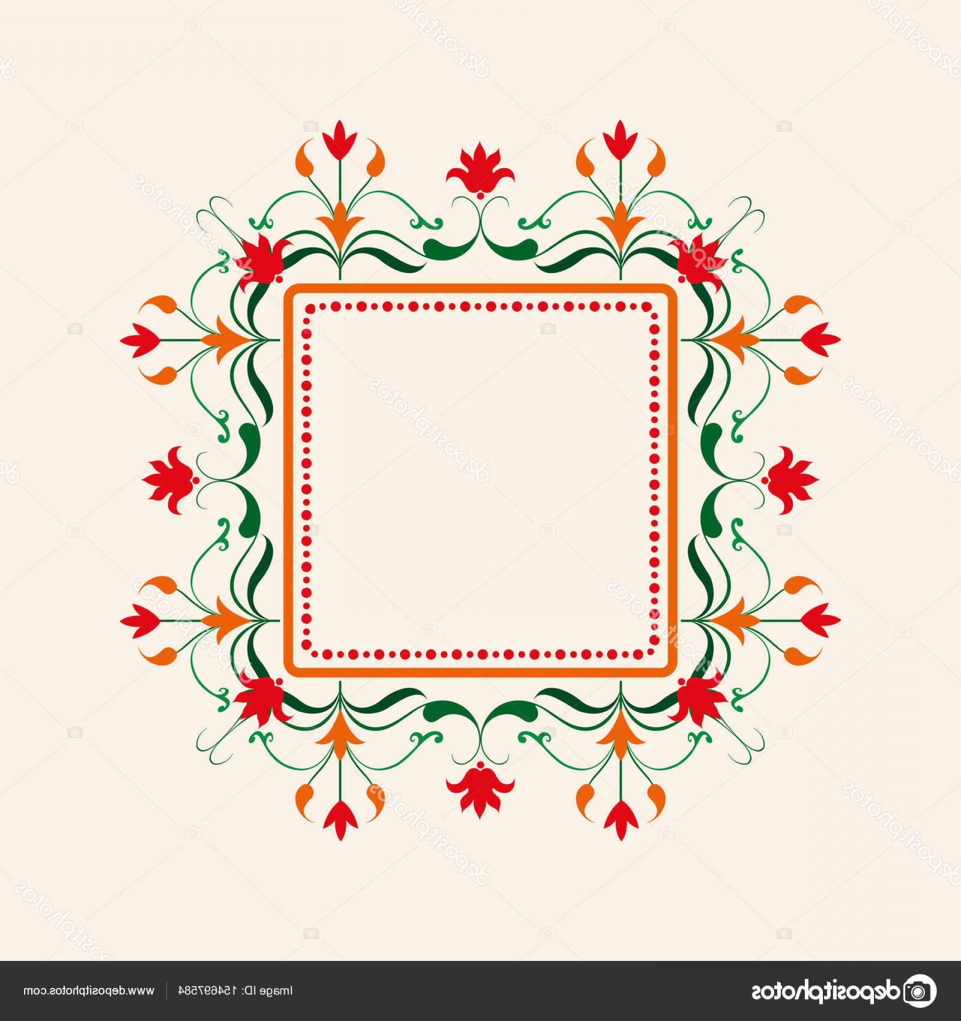 Birthday Card Vector Frame Designs: Stock Illustration Floral Border Vector Decorative Frame