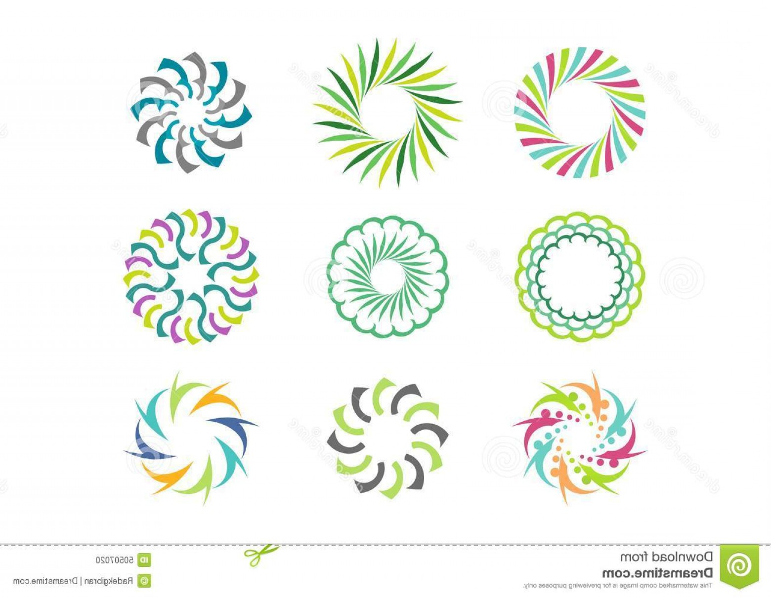 Modern Flower Logo Vector: Stock Illustration Floral Circle Logo Template Set Round Abstract Infinity Flower Pattern Vector Design Image