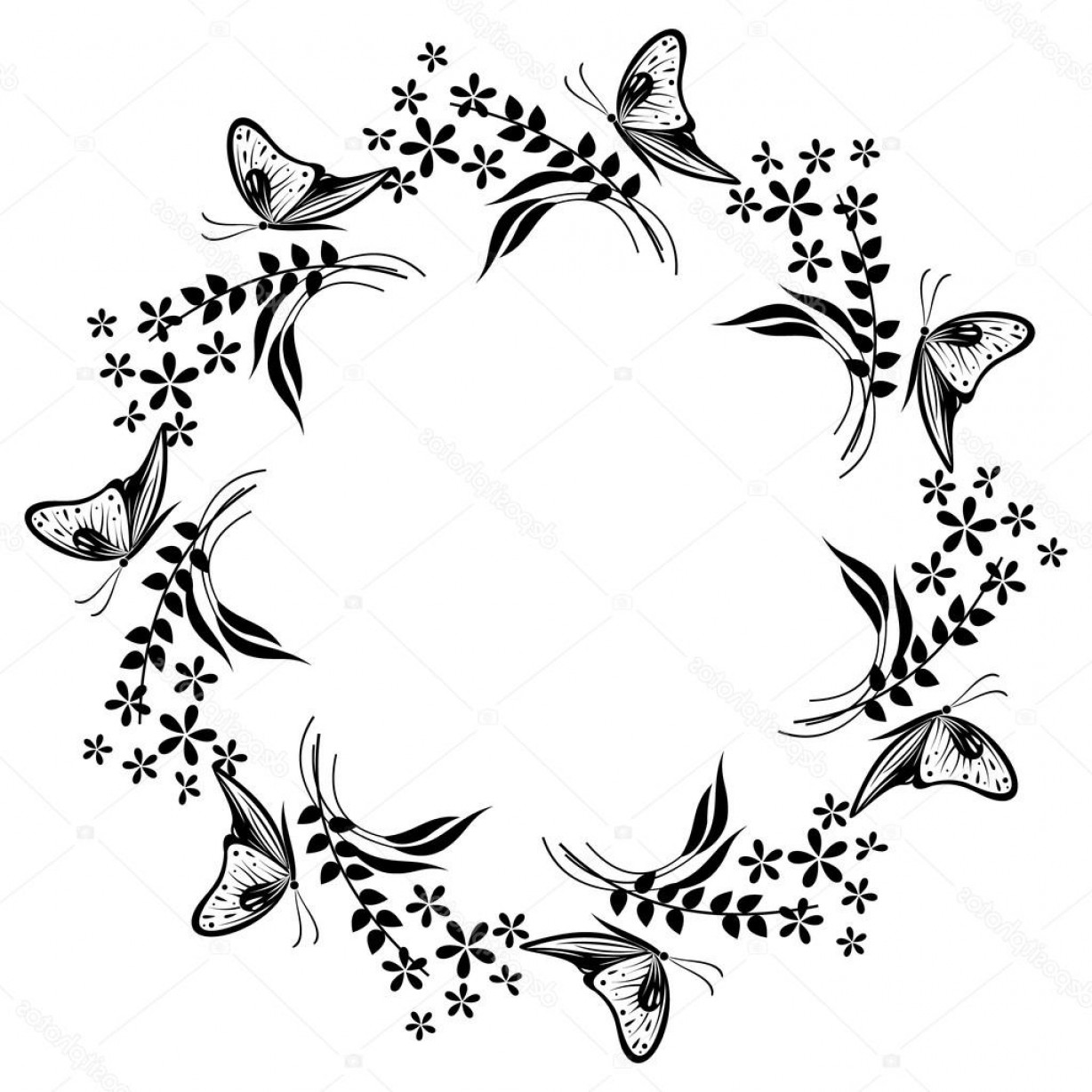 Butter Fly And Flower Vector Black And White: Stock Illustration Floral Frame With Insects Black