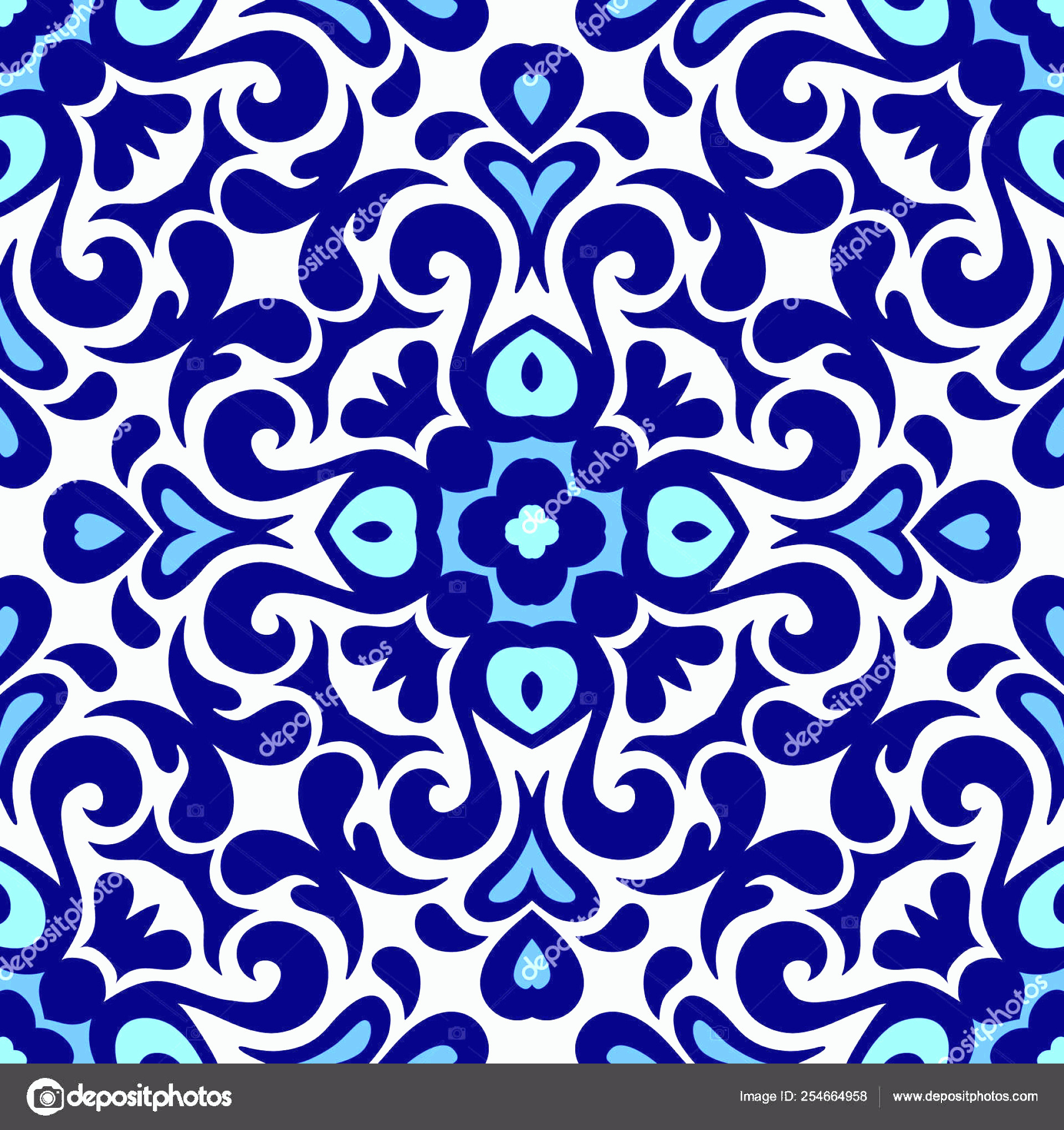 Blue And White Damask Vectors: Stock Illustration Floral Ornament Blue And White