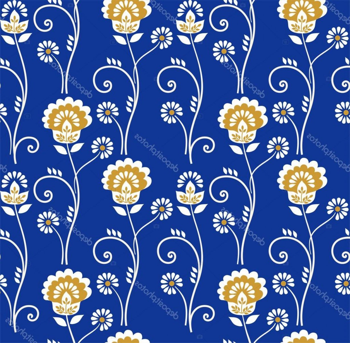 Gold And Blue Flower Vector: Stock Illustration Floral Pattern Seamless Golden Flowers