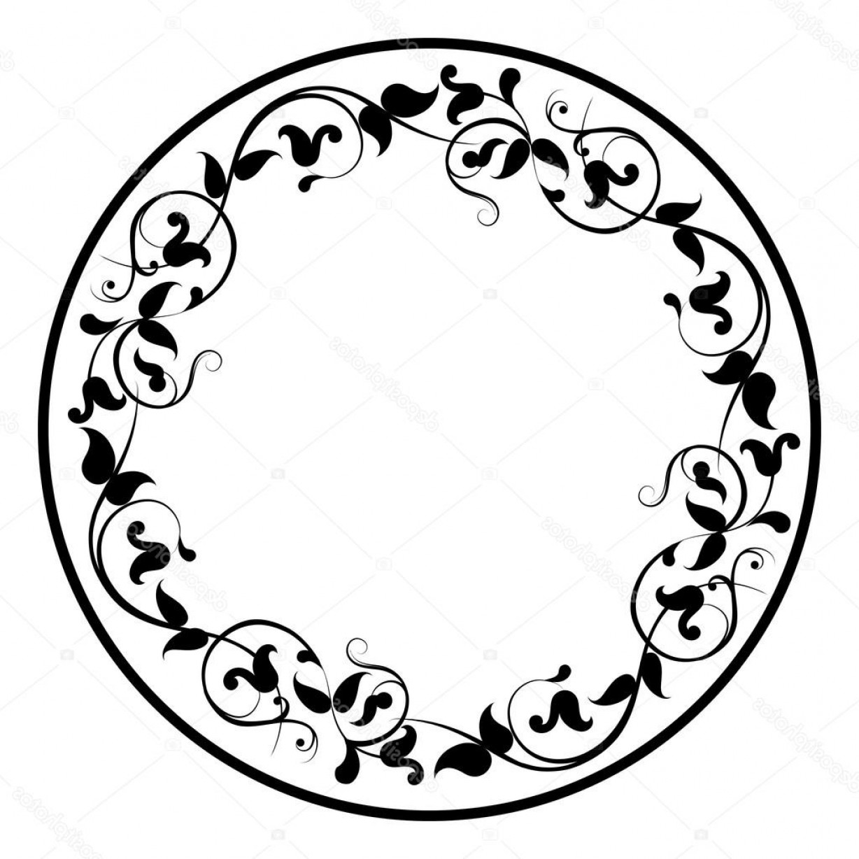 Filigree Oval Frame Vector: Stock Illustration Floral Round Filigree Frame