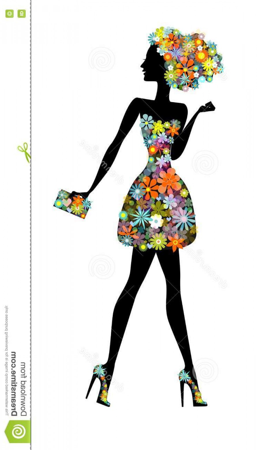 Vector Flower Girl Dresses: Stock Illustration Flower Girl Beautiful Woman Perfume Vector Illustration Silhouette Cute Young Flowers Full Life Image