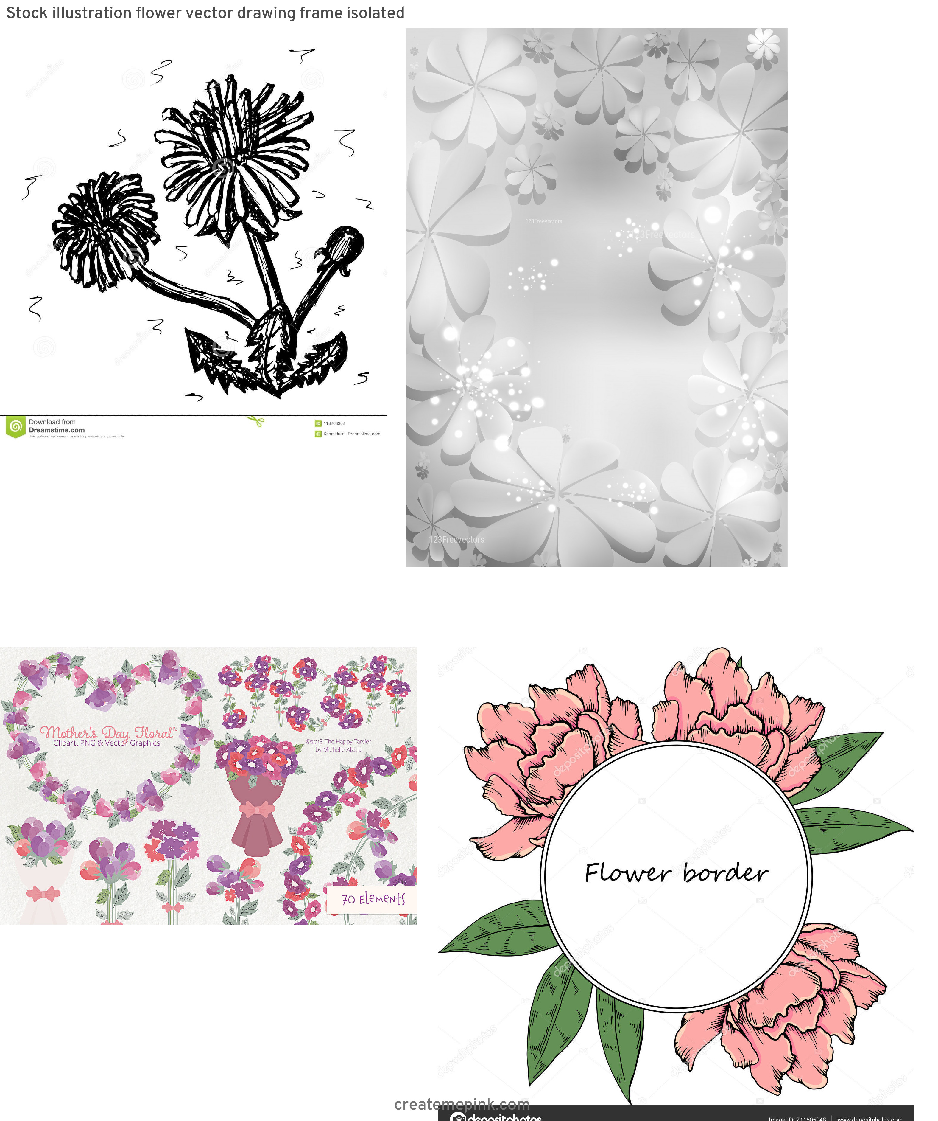 Vector Graphics Floral: Stock Illustration Flower Vector Drawing Frame Isolated