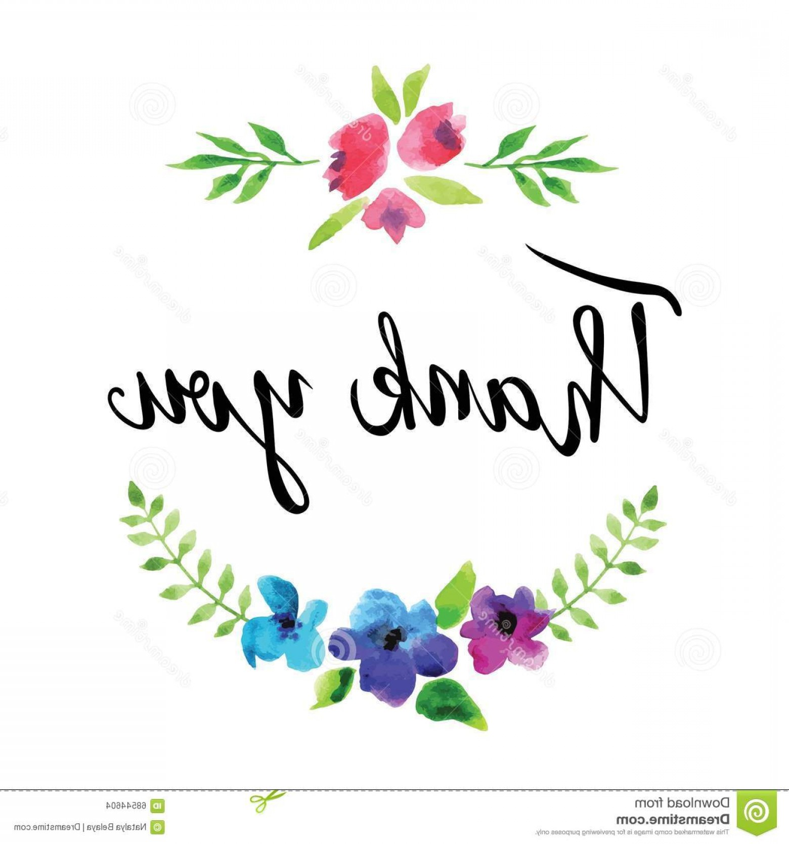 Floral Vector Calligraphy: Stock Illustration Flowers Garland Vector Watercolor Calligraphy Text Thank You White Background Image