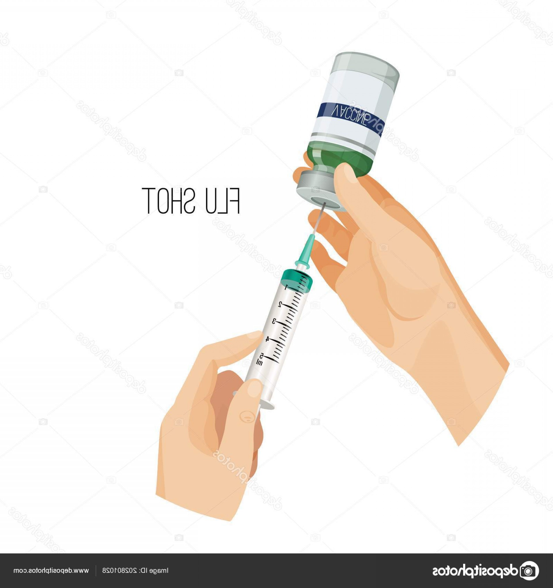 Flu Shot Vector: Stock Illustration Flu Shot Poster With Hands
