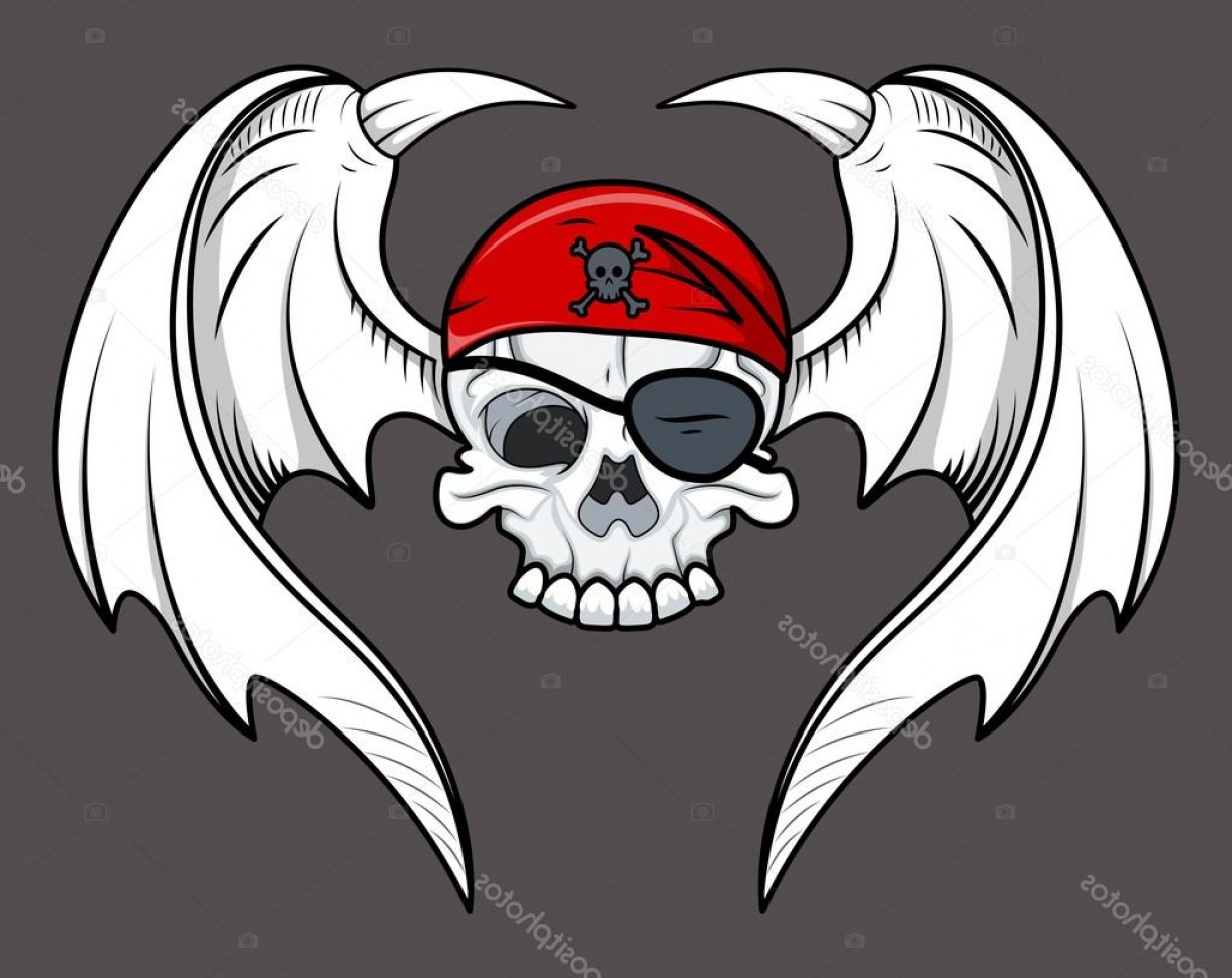 Flying Skull Vector: Stock Illustration Flying Pirate Skull Vector Cartoon