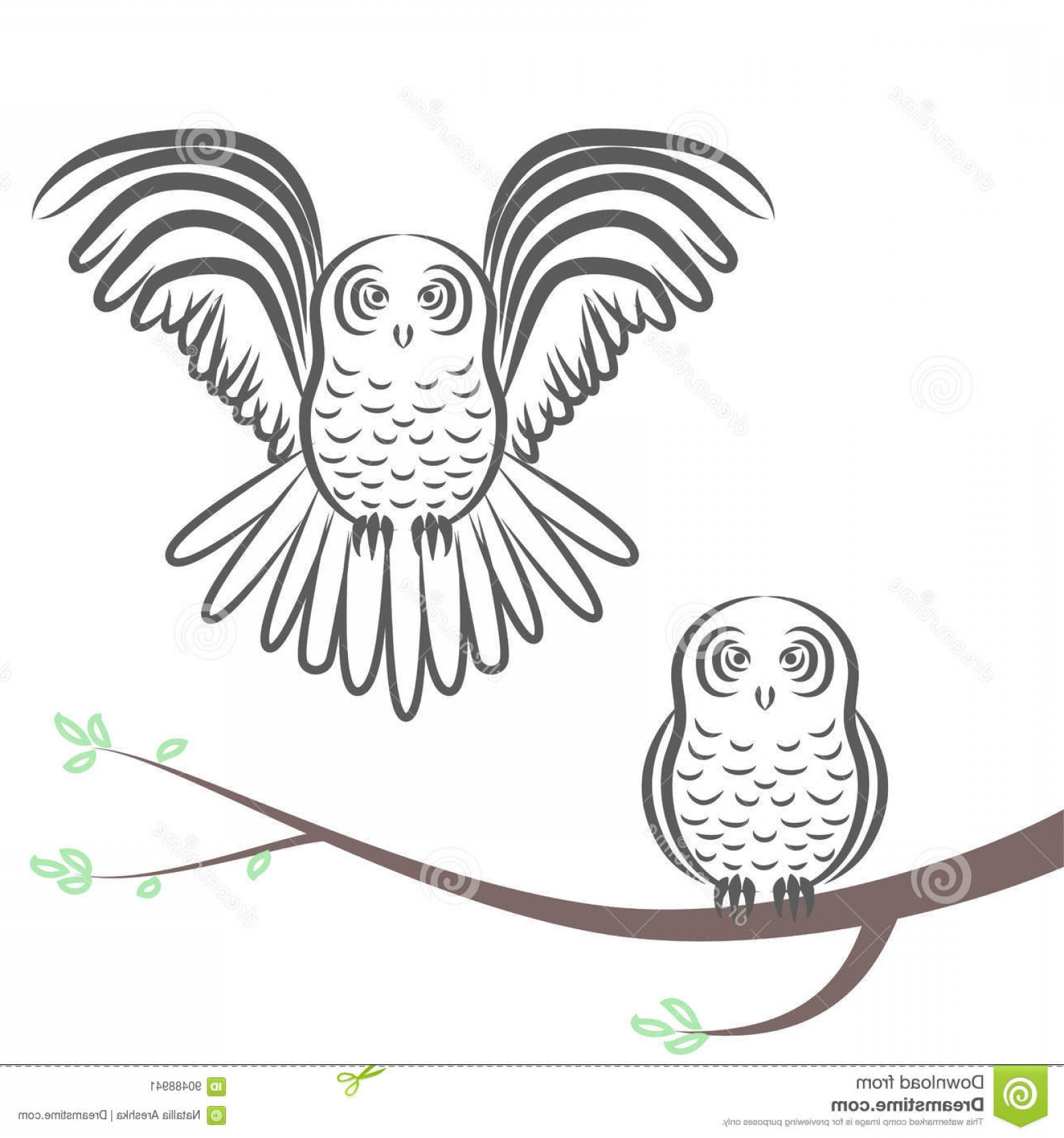 Owl Silhouette Vector Art: Stock Illustration Flying Sitting Owl Silhouette Branch Stock Vector Illustration Bird Couple One Flight Stretched Wings Image