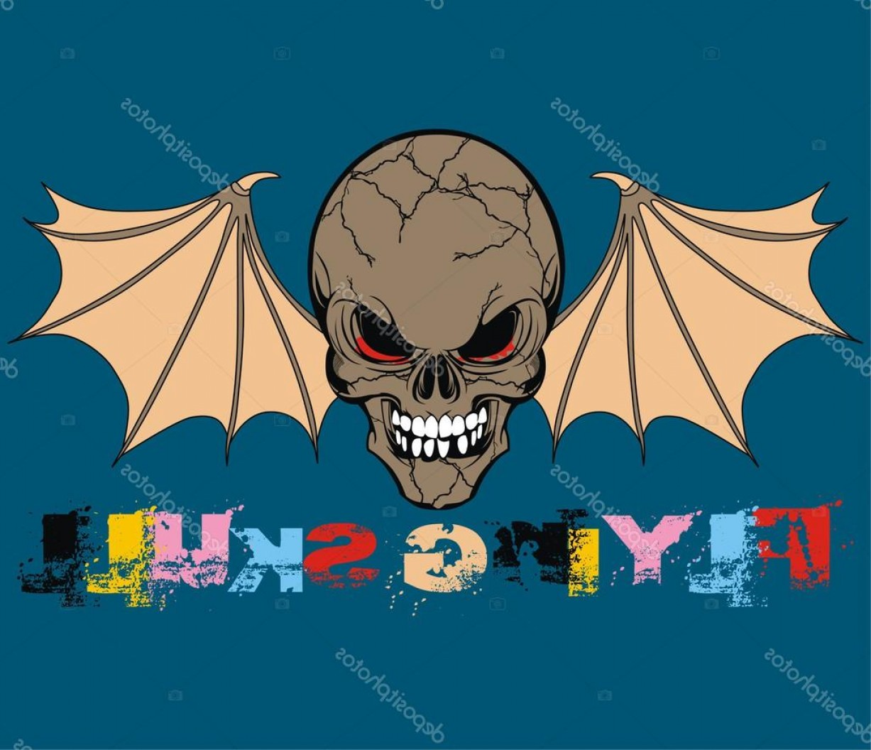 Flying Skull Vector: Stock Illustration Flying Skull Vector Illustration