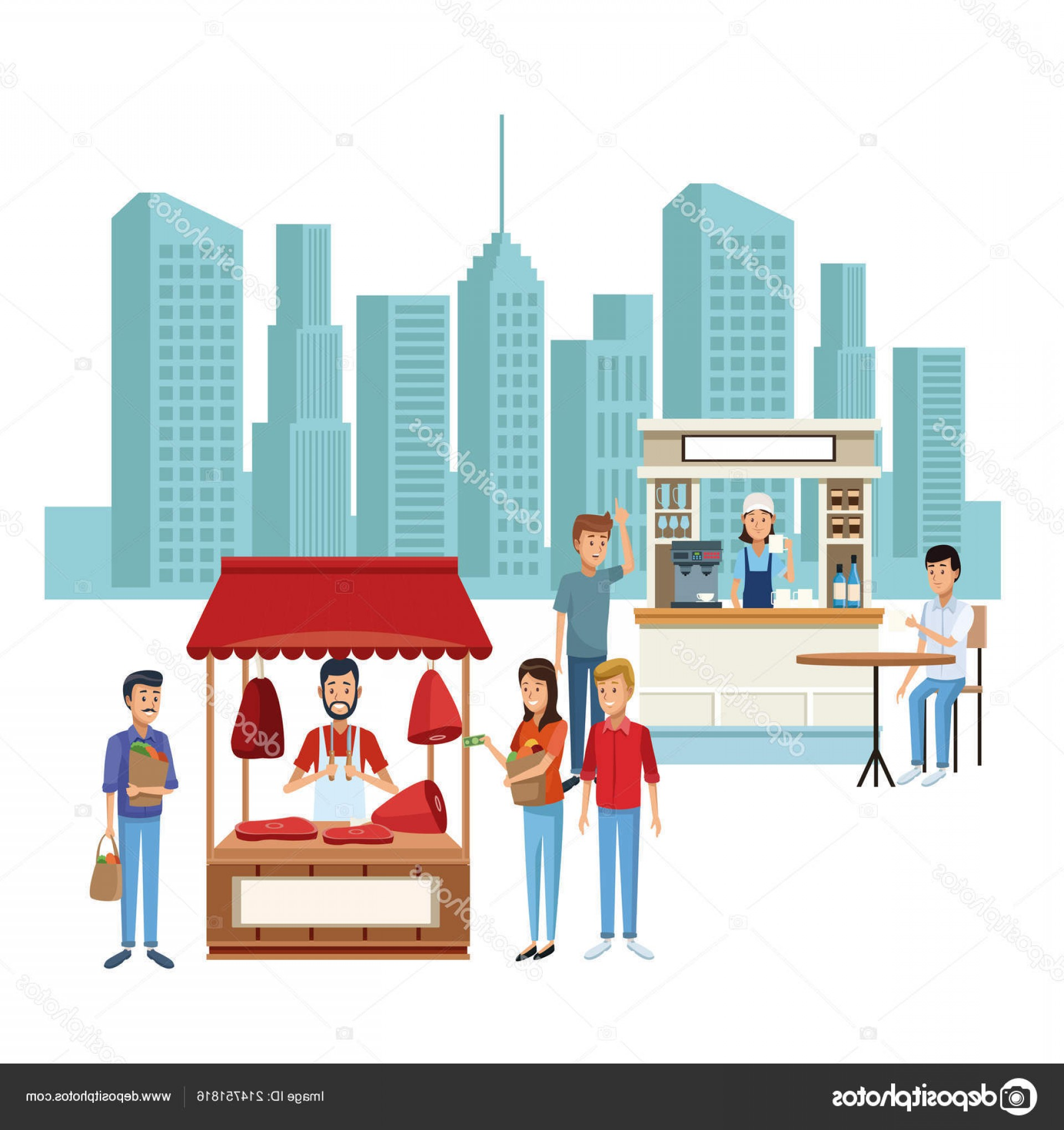 Commercial Booth Vector: Stock Illustration Food Booth And Shops