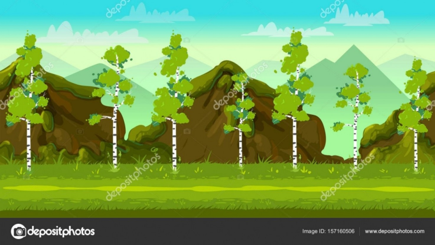 Vector Applications On Computers: Stock Illustration Forest And Stones D Game