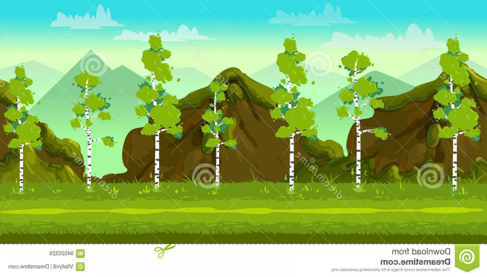 Vector Applications On Computers: Stock Illustration Forest Stones D Game Landscape Games Mobile Applications Computers Vector Illustration Your Design Ready Image