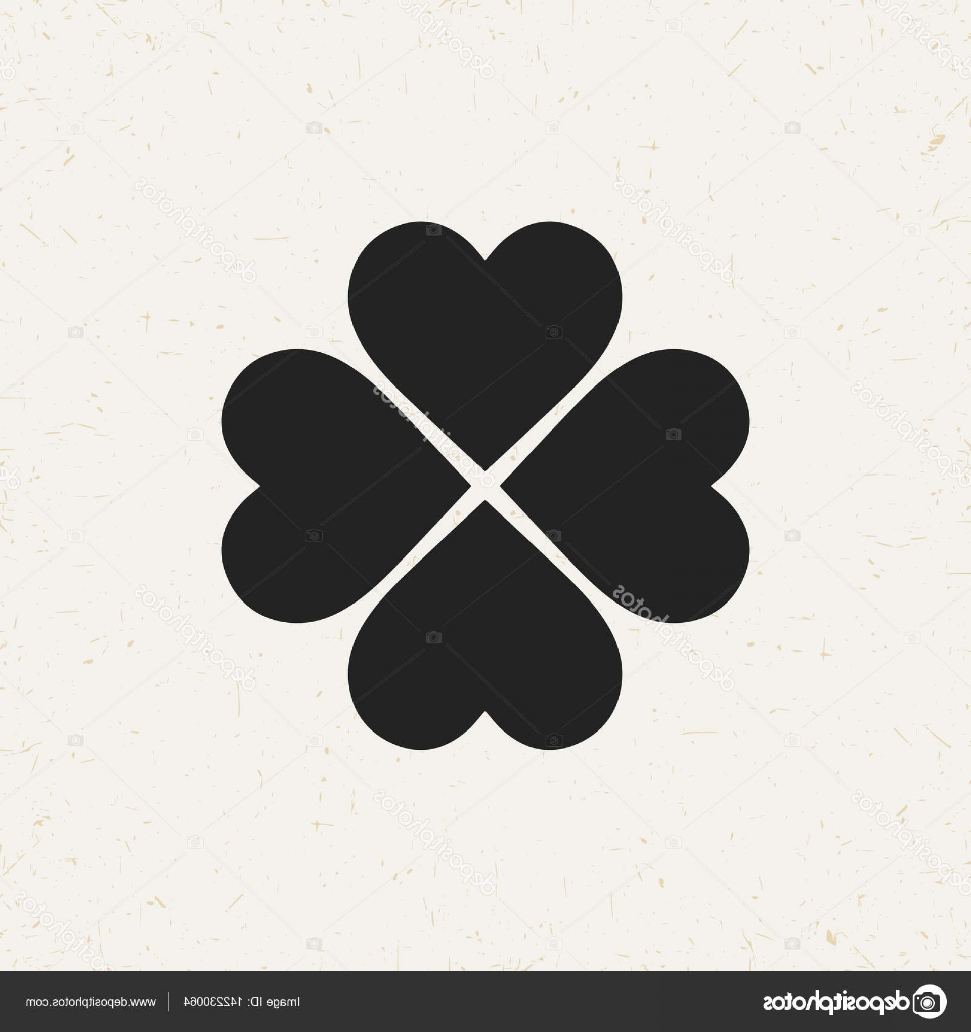Four Leaf Clover Vector Art Black And White: Stock Illustration Four Leaf Clover Vector Icon