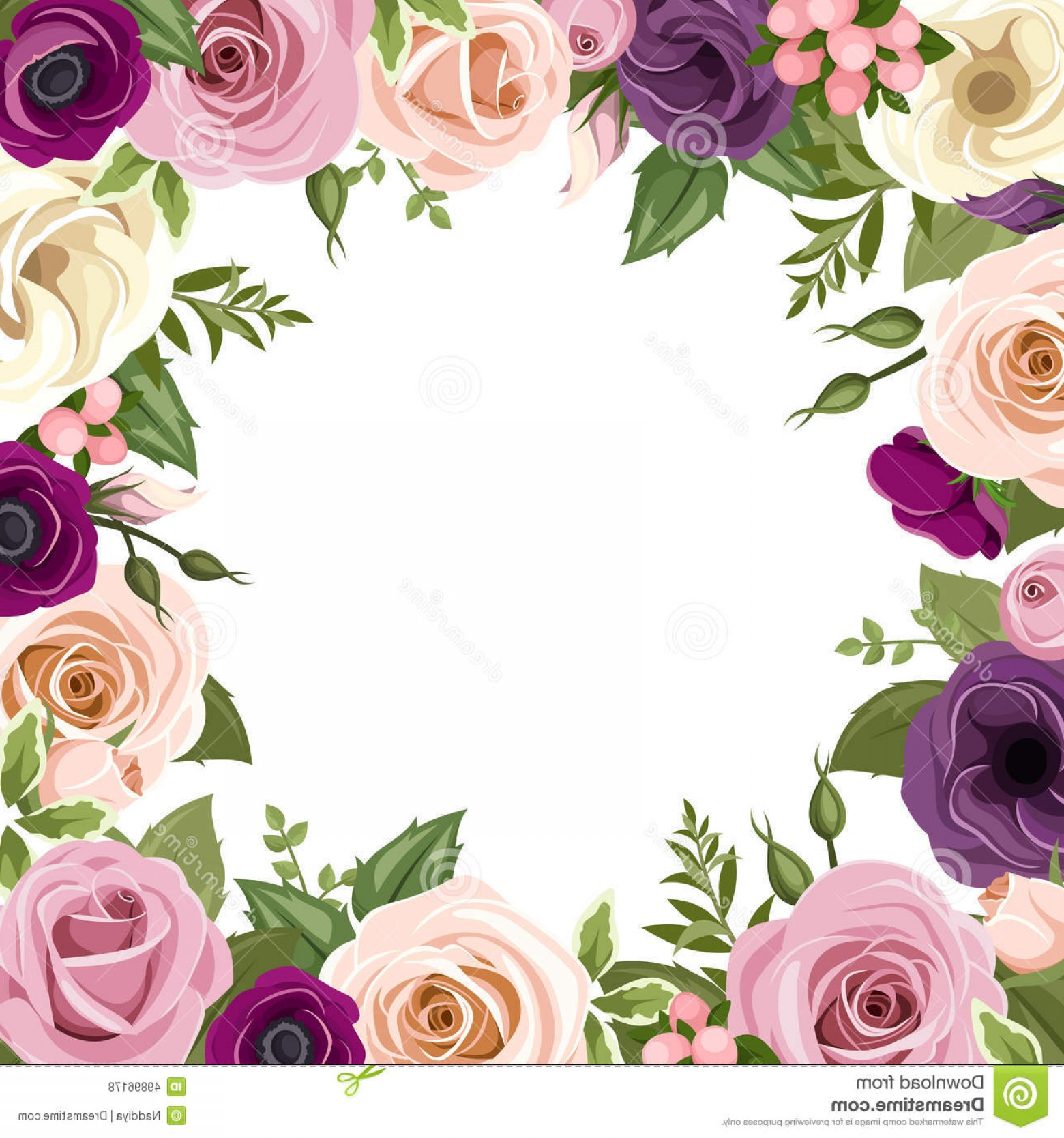 Purple Green And White Vector: Stock Illustration Frame Colorful Roses Lisianthus Flowers Vector Illustration Pink Purple White Orange Anemone Green Leaves Image
