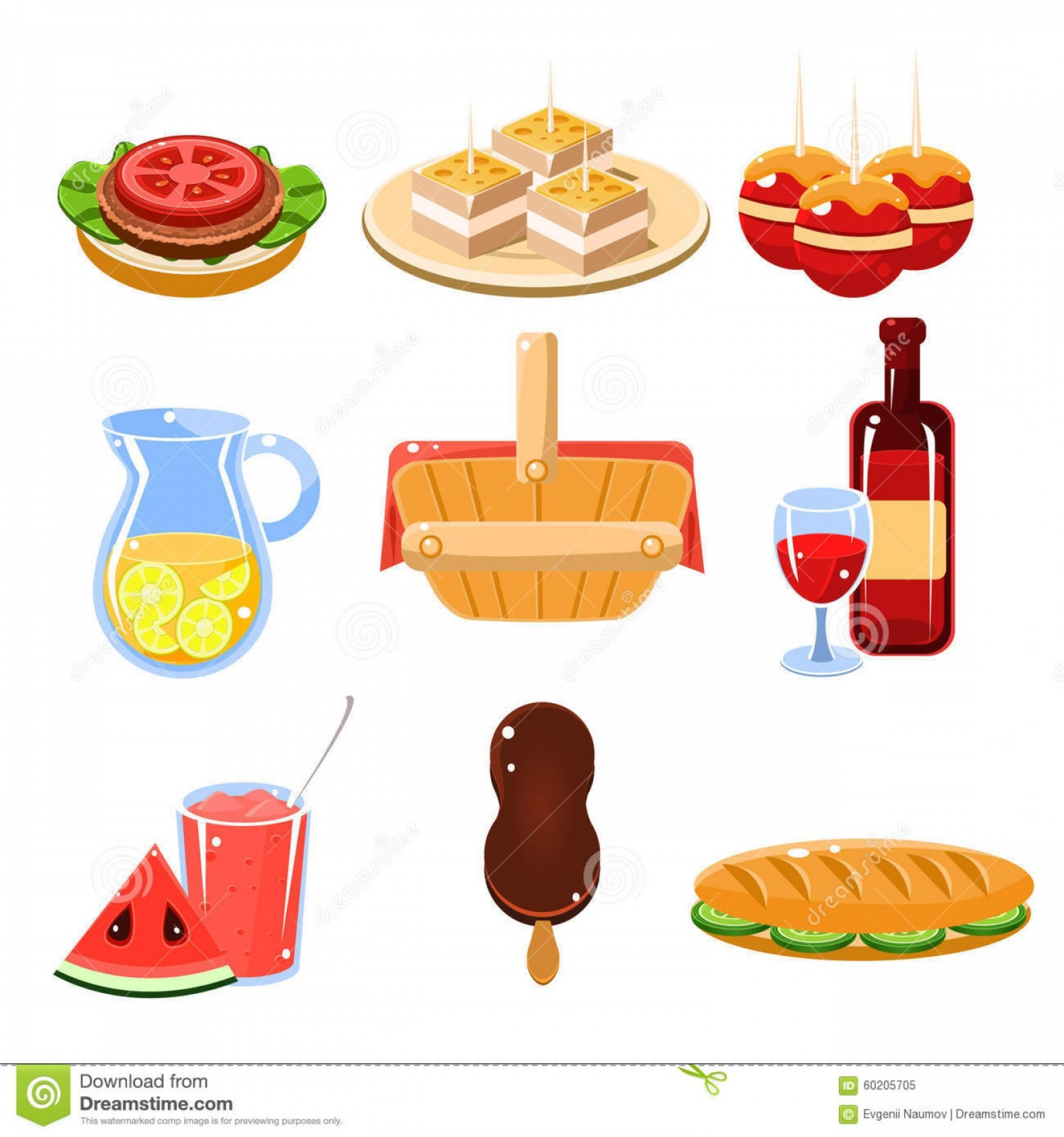 Vector Word Picnic: Stock Illustration French Food Icons Set Bright Traditional Picnic Drinks Vector Illustration Collection Image