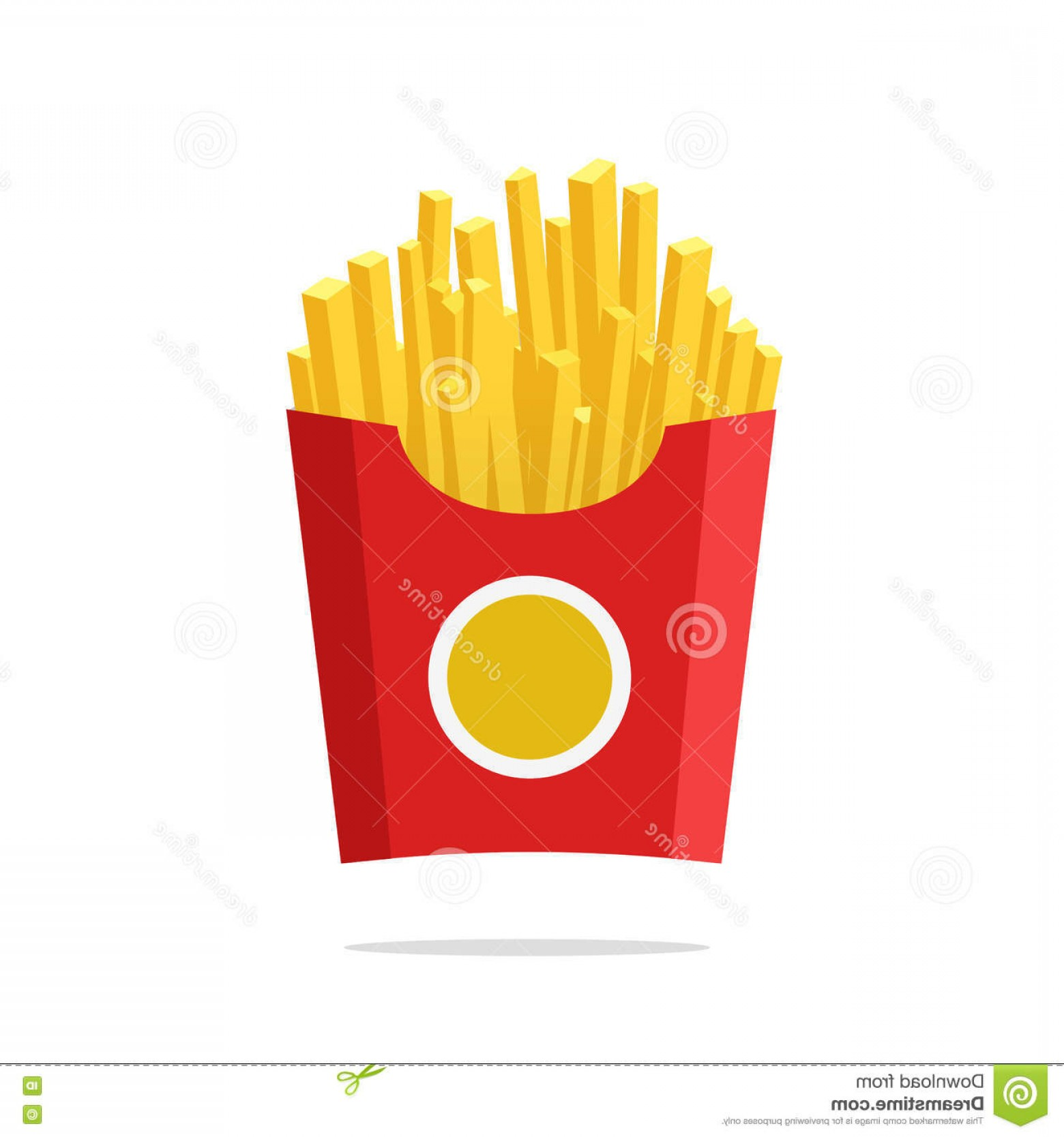 Fries Vector: Stock Illustration French Fries Vector Illustration Fried Potatoes Paper Box Isolated Flat Cartoon Style Potato White Background Image