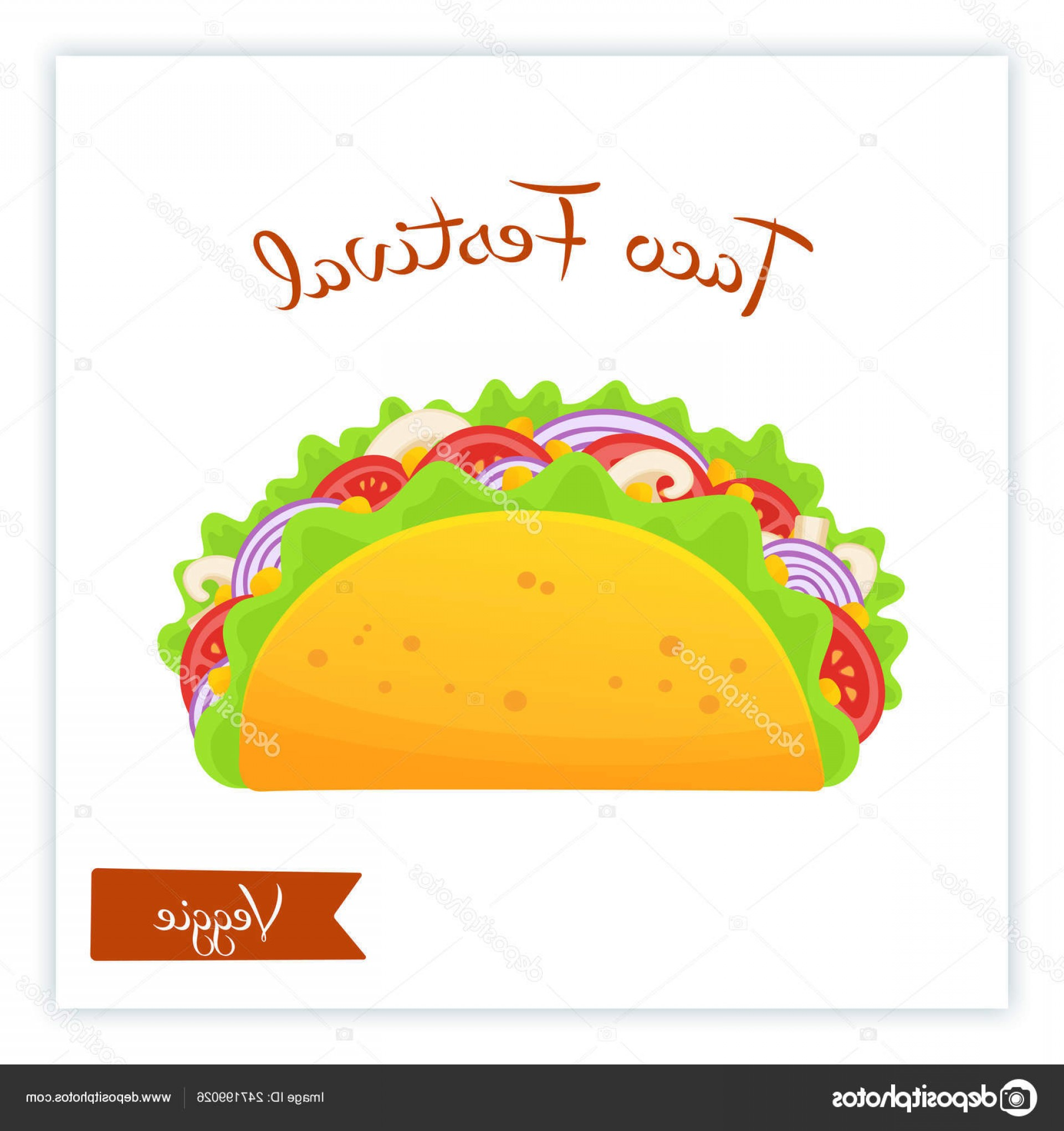 Steak Taco Vector Art: Stock Illustration Fresh Traditional Veggie Tacos Food