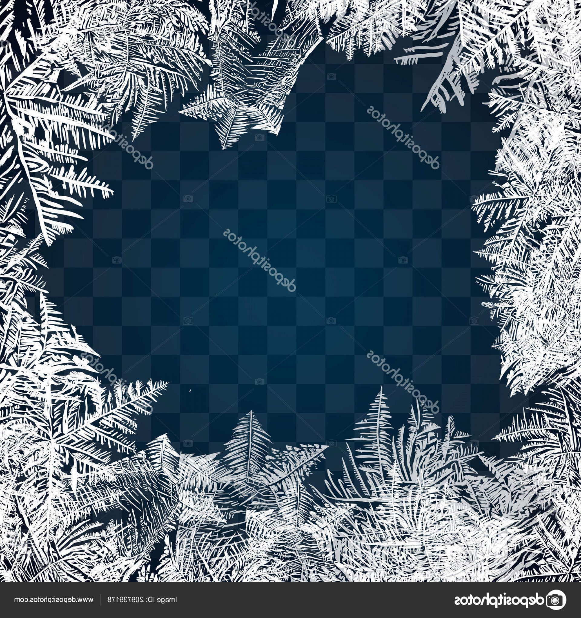 Frost Border Vector: Stock Illustration Frost Glass Pattern Winter Frame